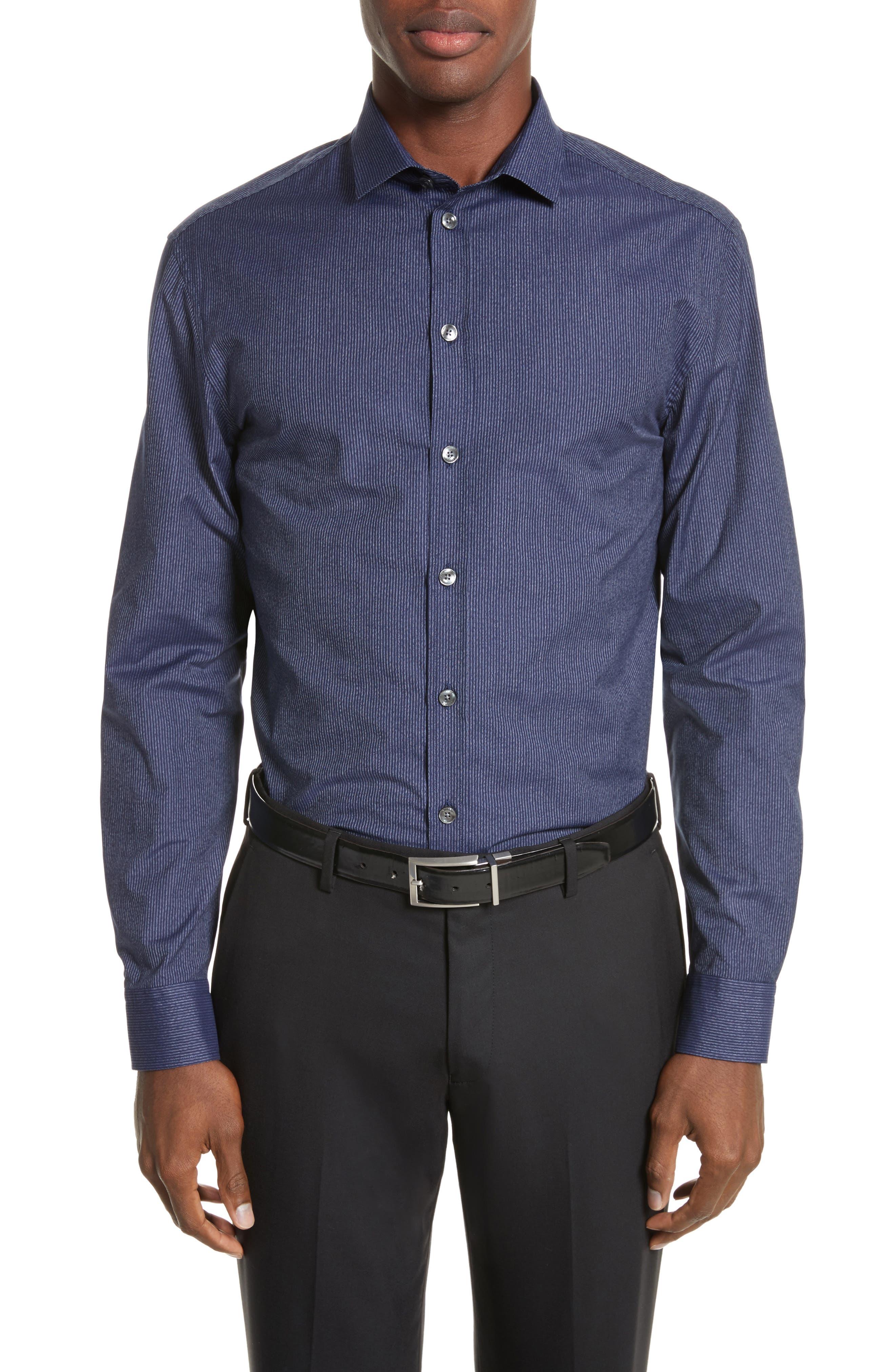 Regular Fit Pinstripe Sport Shirt,                         Main,                         color, Striped Blue