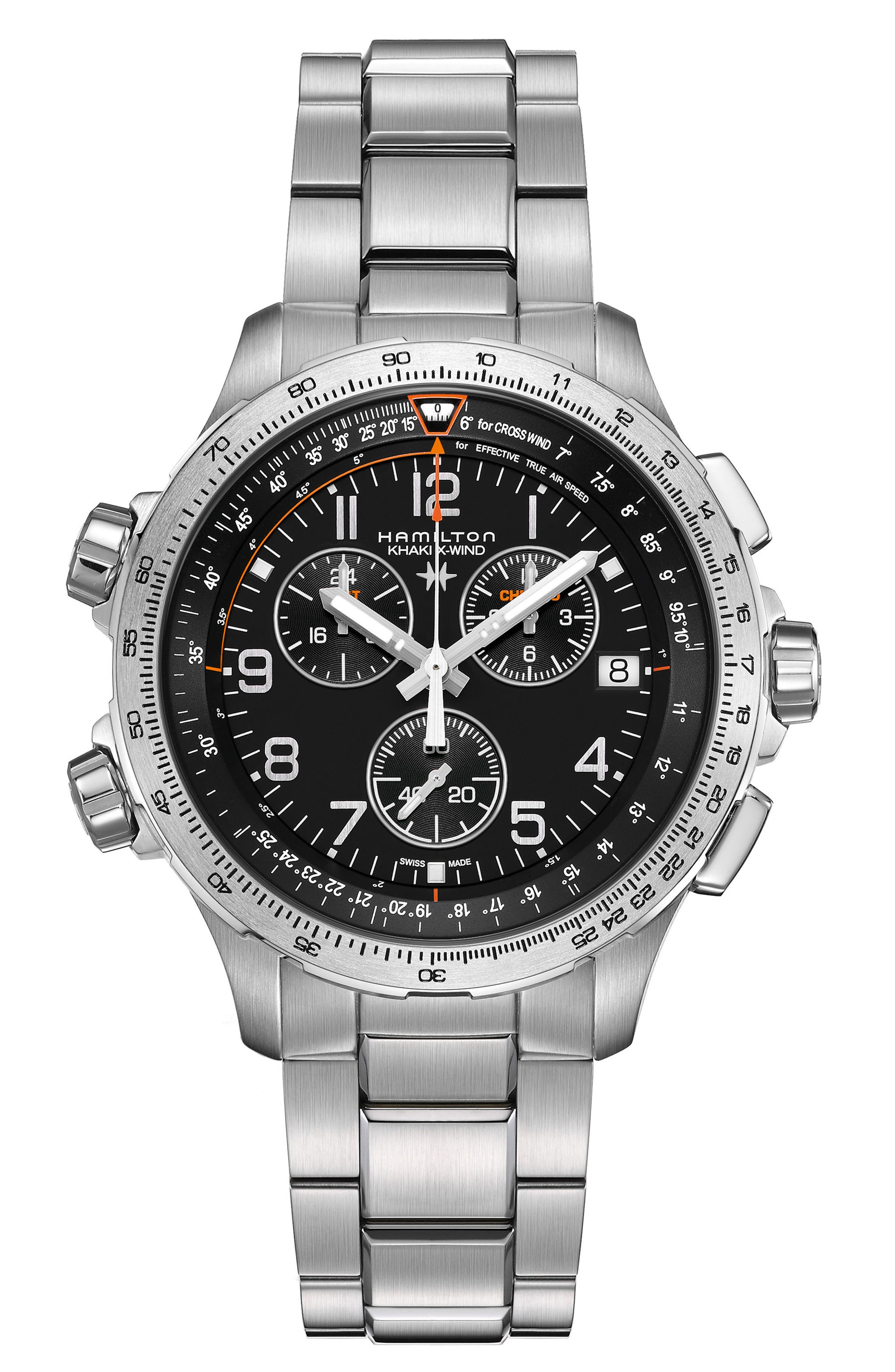 Alternate Image 1 Selected - Hamilton X-Wind Chronograph GMT Bracelet Watch, 46mm