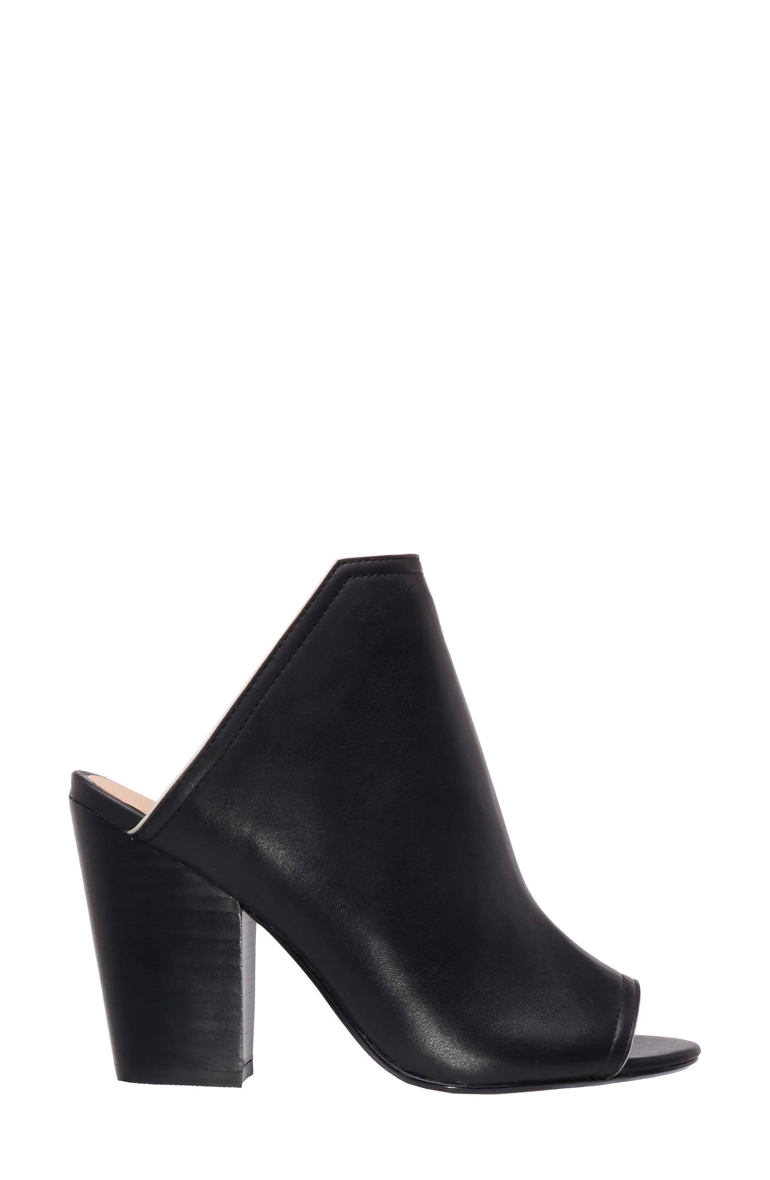 Honor Open Toe Mule,                             Alternate thumbnail 3, color,                             Black Leather