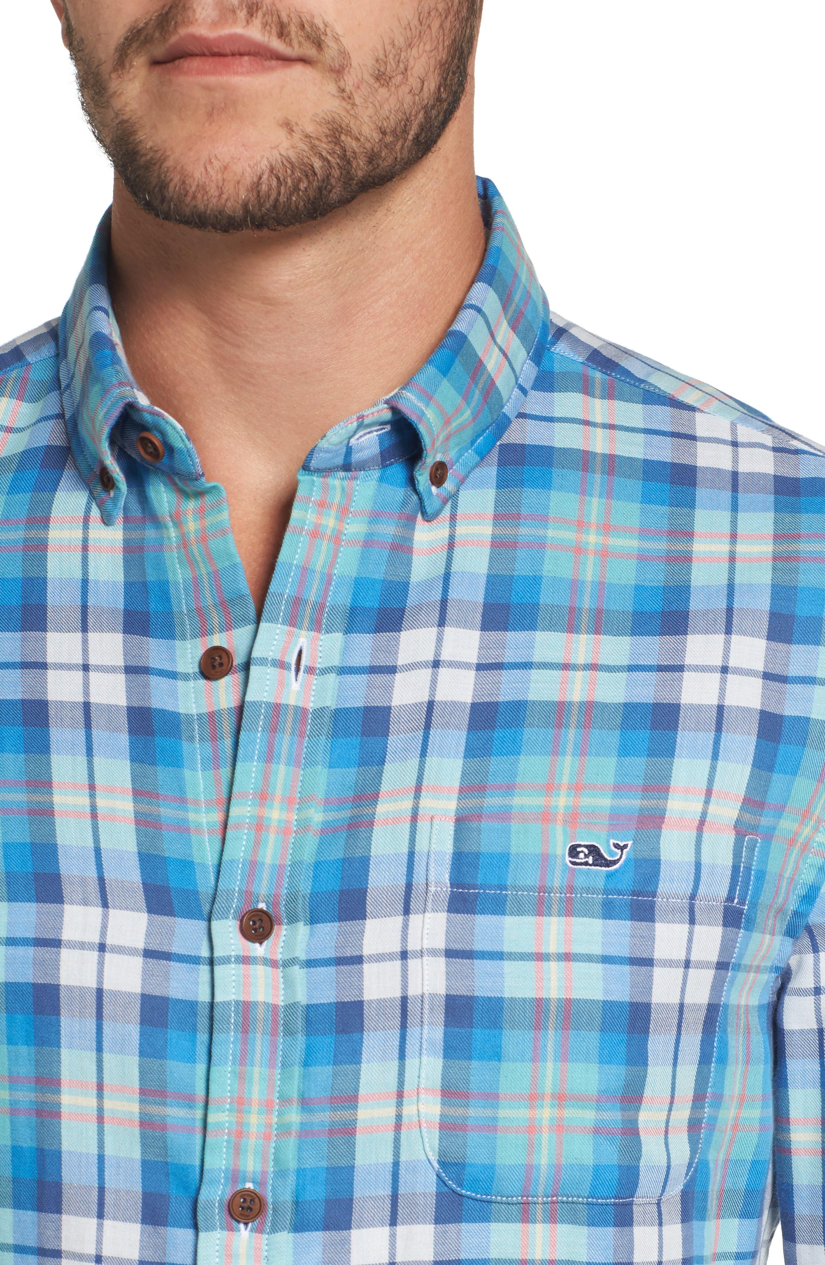 East Marsh Plaid Tucker Slim Fit Sport Shirt,                             Alternate thumbnail 4, color,                             Hull Blue