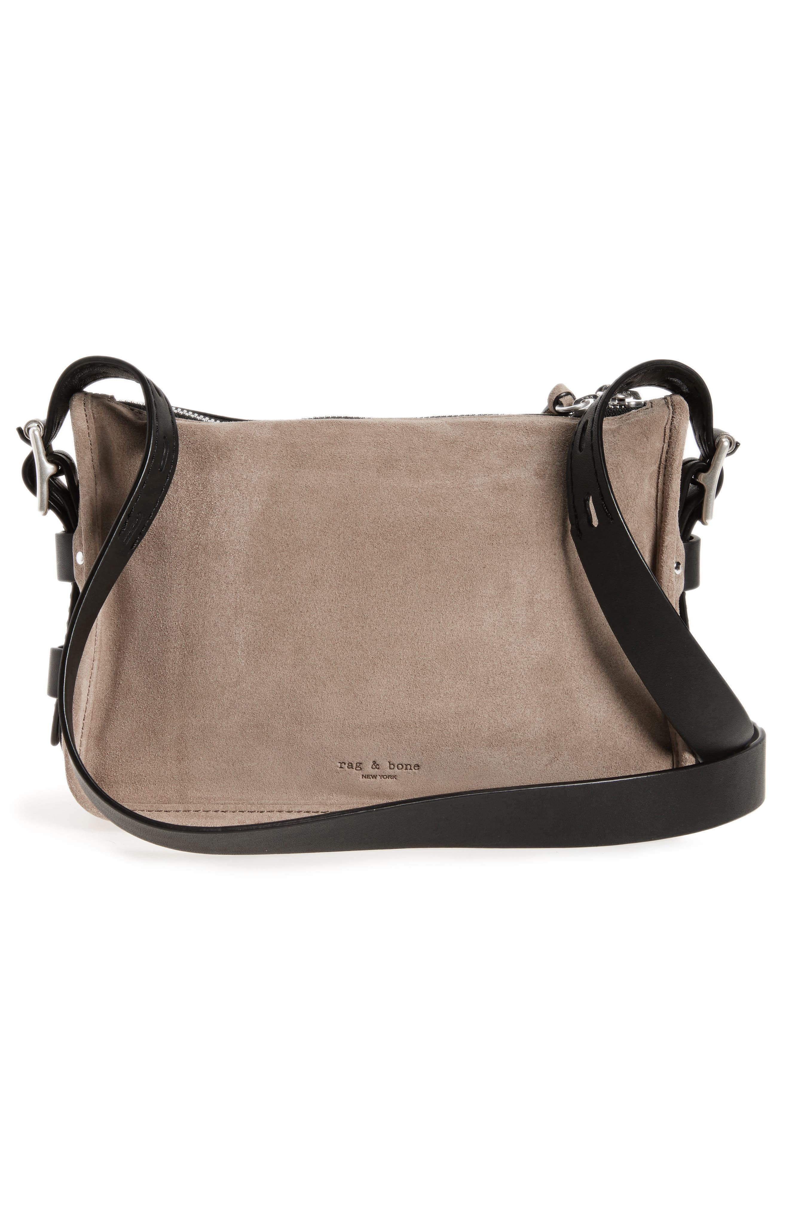 Small Leather Field Messenger Bag,                             Alternate thumbnail 3, color,                             Warm Grey Suede
