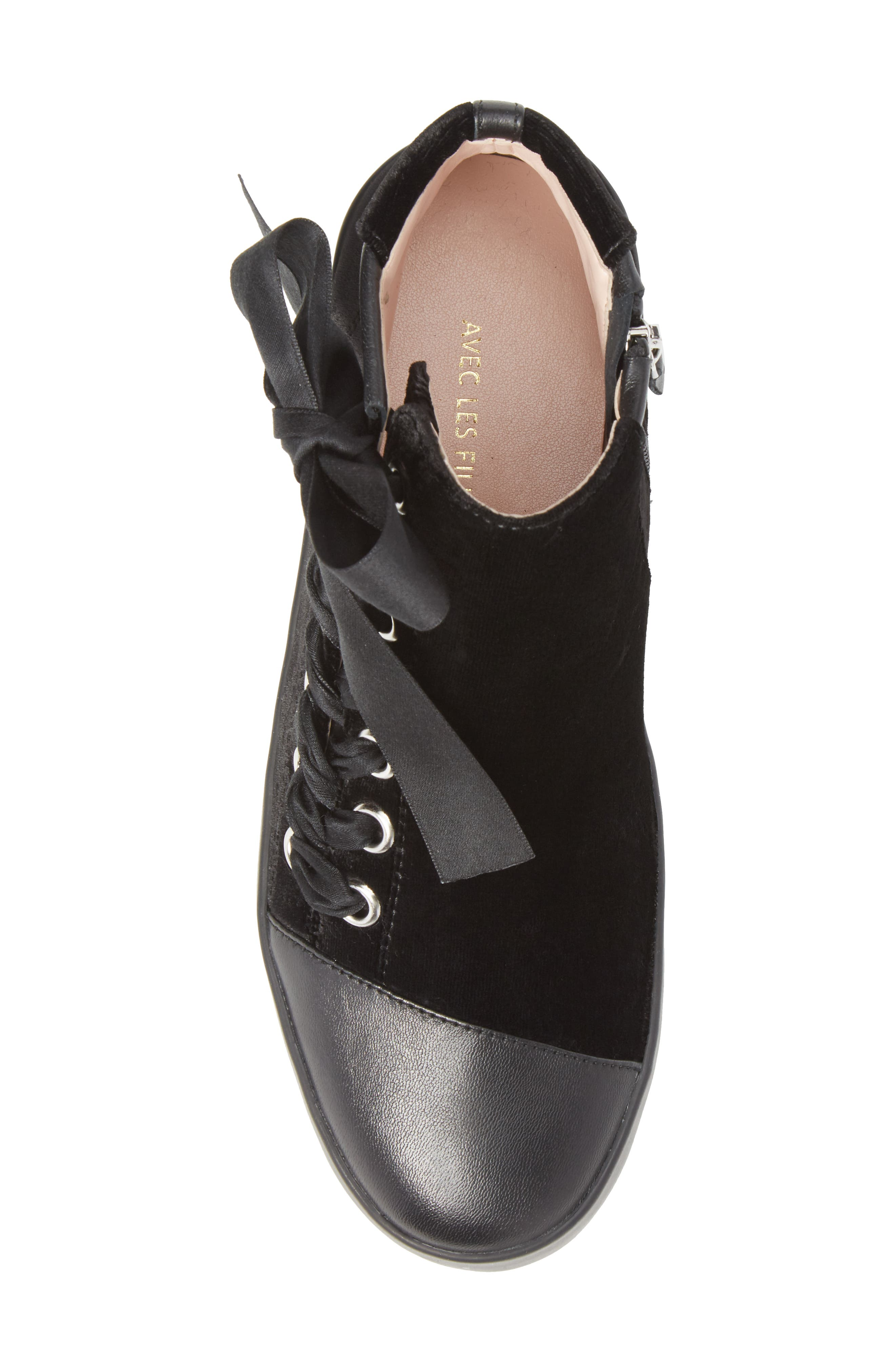 Valerie High Top Sneaker,                             Alternate thumbnail 5, color,                             Black Fabric\Leather