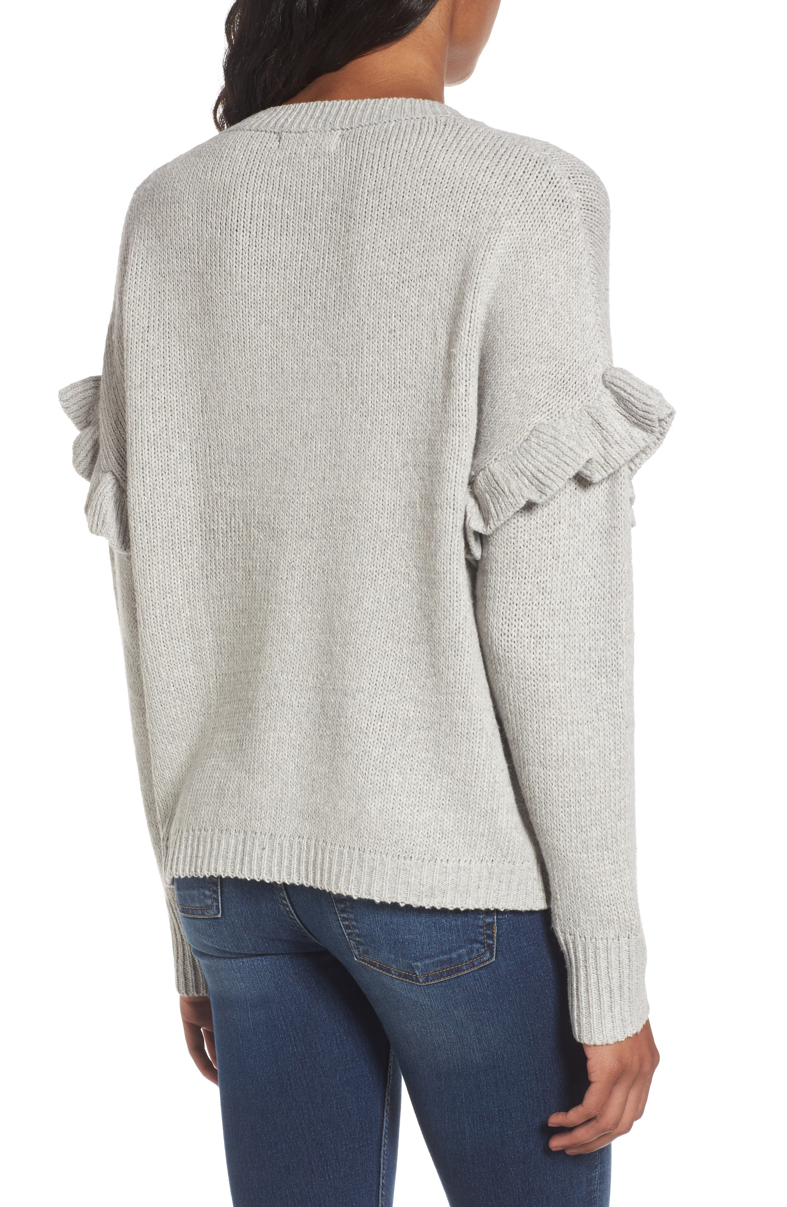 Ruffle Sleeve Embroidered Sweater,                             Alternate thumbnail 2, color,                             Grey