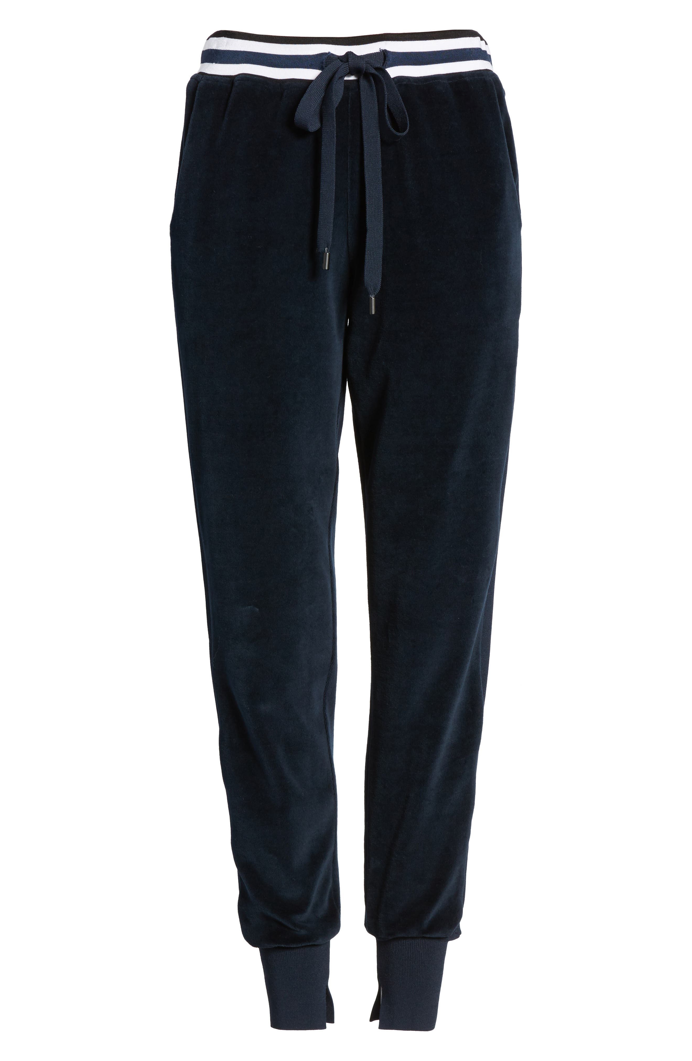 Velour Jogger Pants,                             Alternate thumbnail 6, color,                             True Navy
