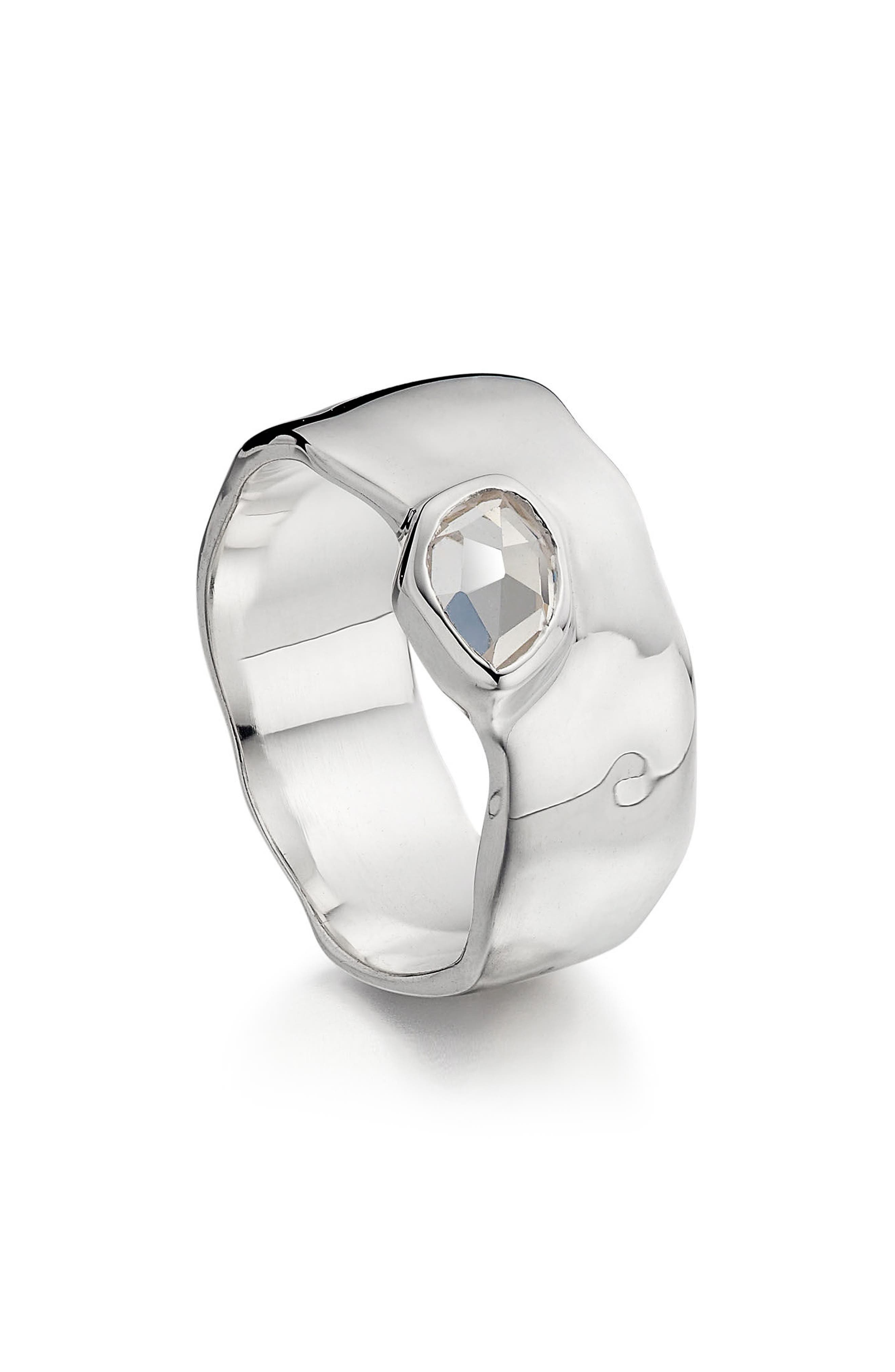 Siren Wide Band Ring,                         Main,                         color, White Topaz/ Silver