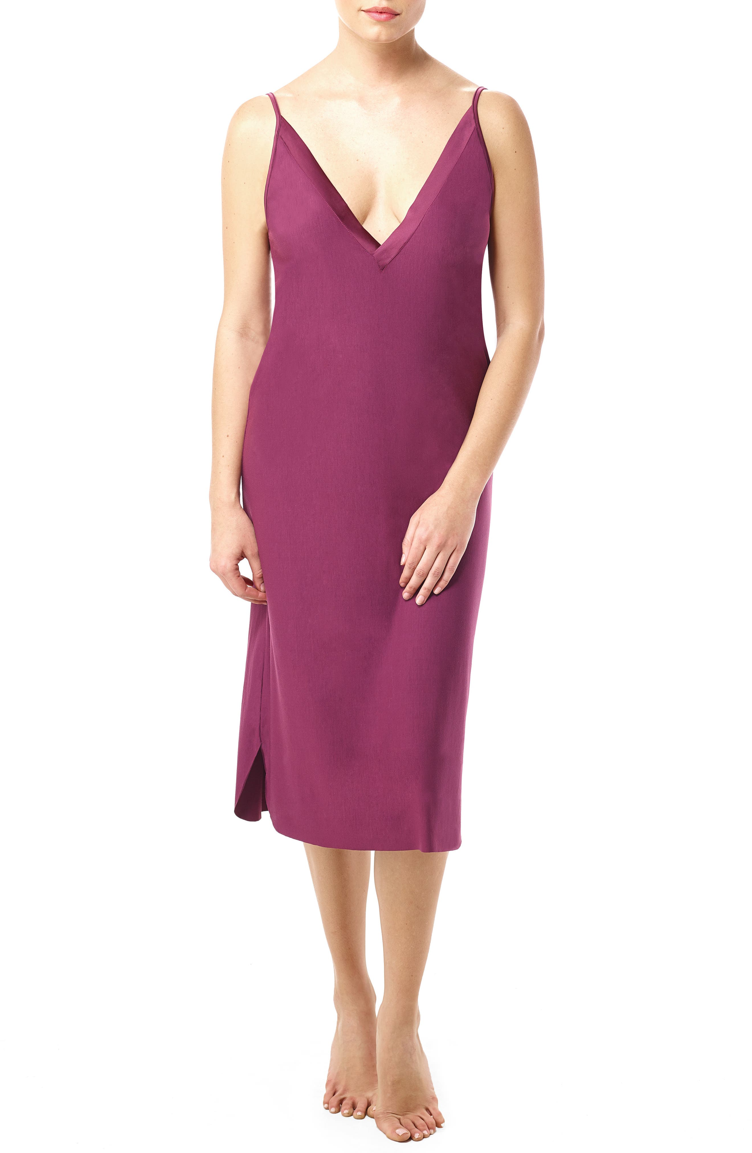 Butter & Satin Chemise,                         Main,                         color, Pinot