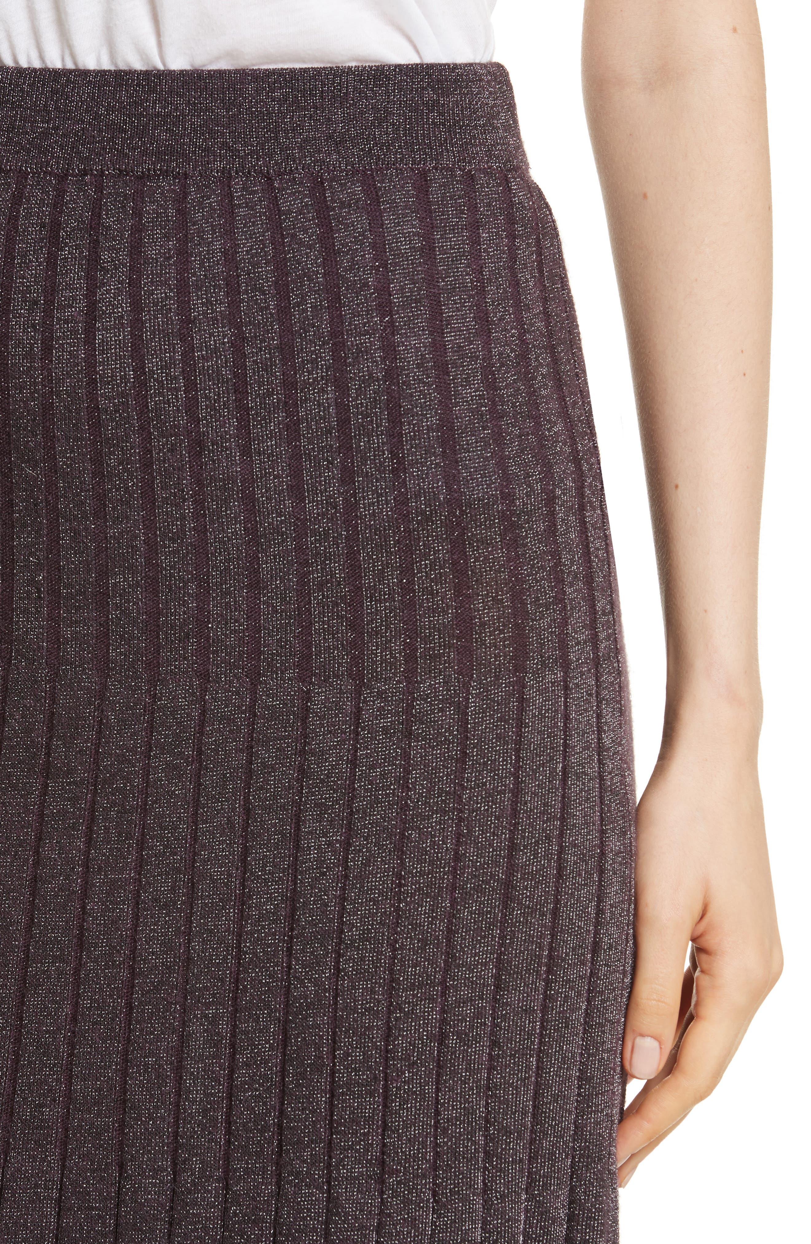 Metallic Ribbed Knit Skirt,                             Alternate thumbnail 4, color,                             Merlot