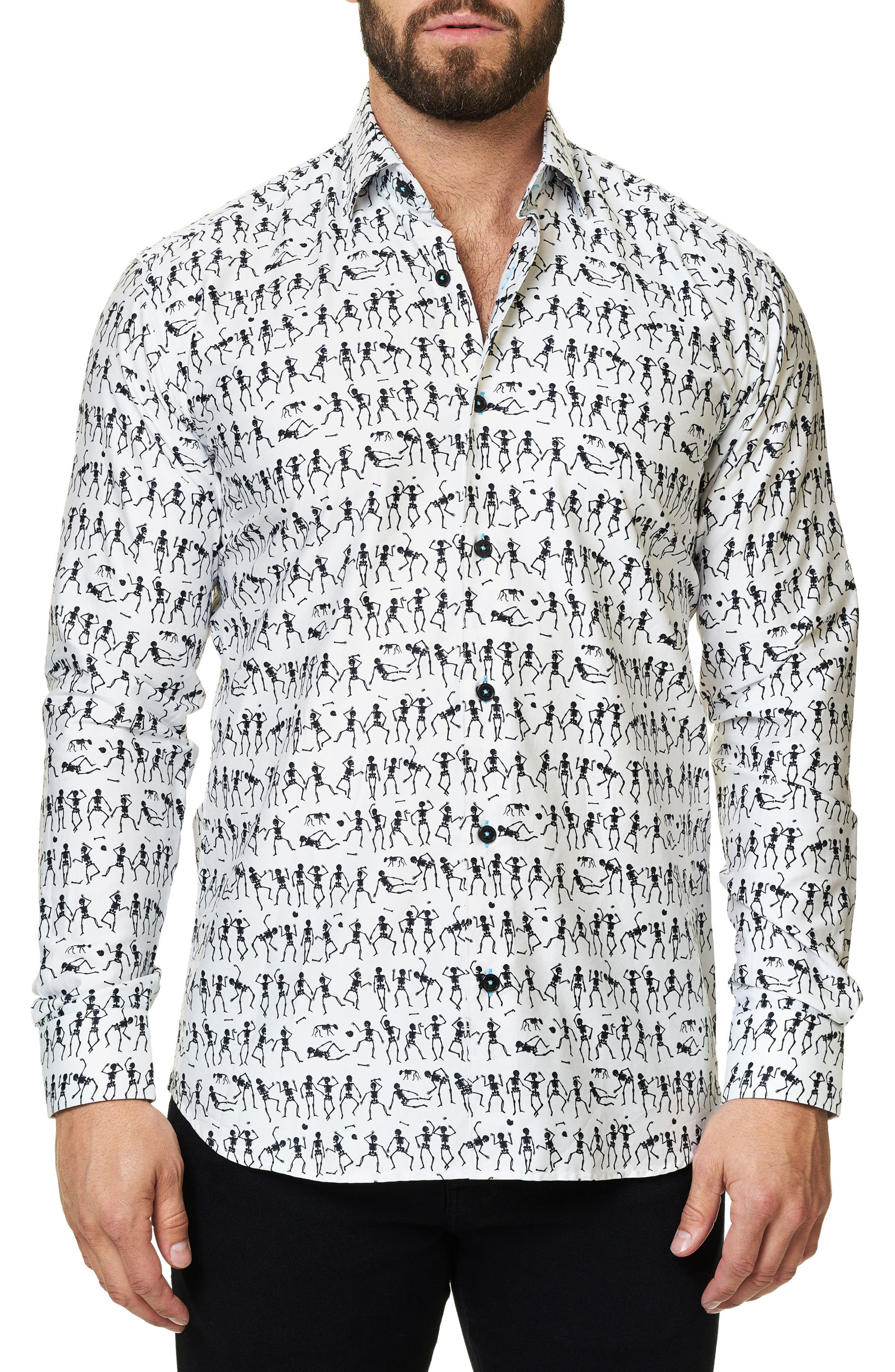 Maceoo Luxor Funky Skeleton Trim Fit Sport Shirt
