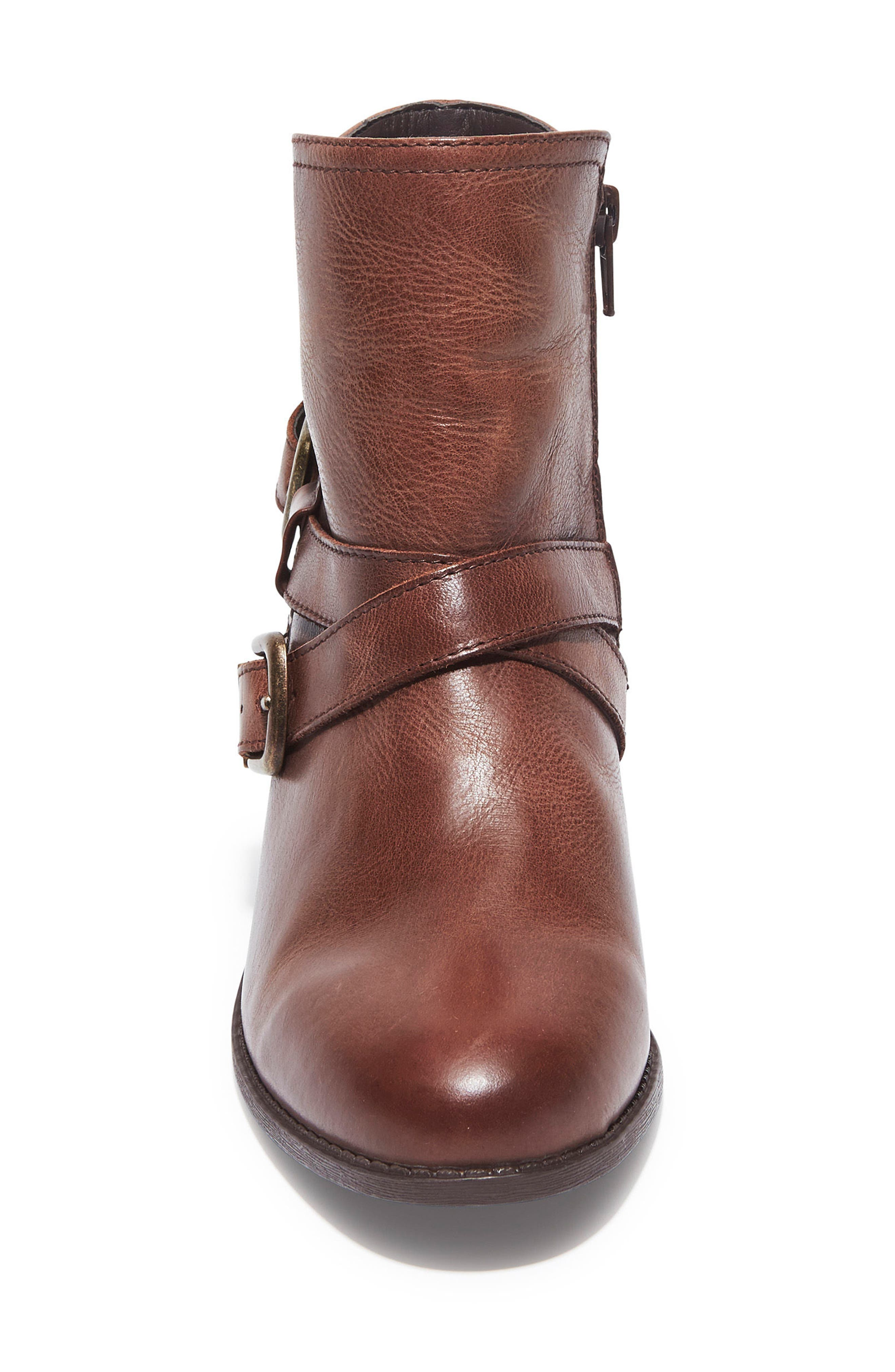 Zuri Buckle Boot,                             Alternate thumbnail 4, color,                             Chocolate Leather