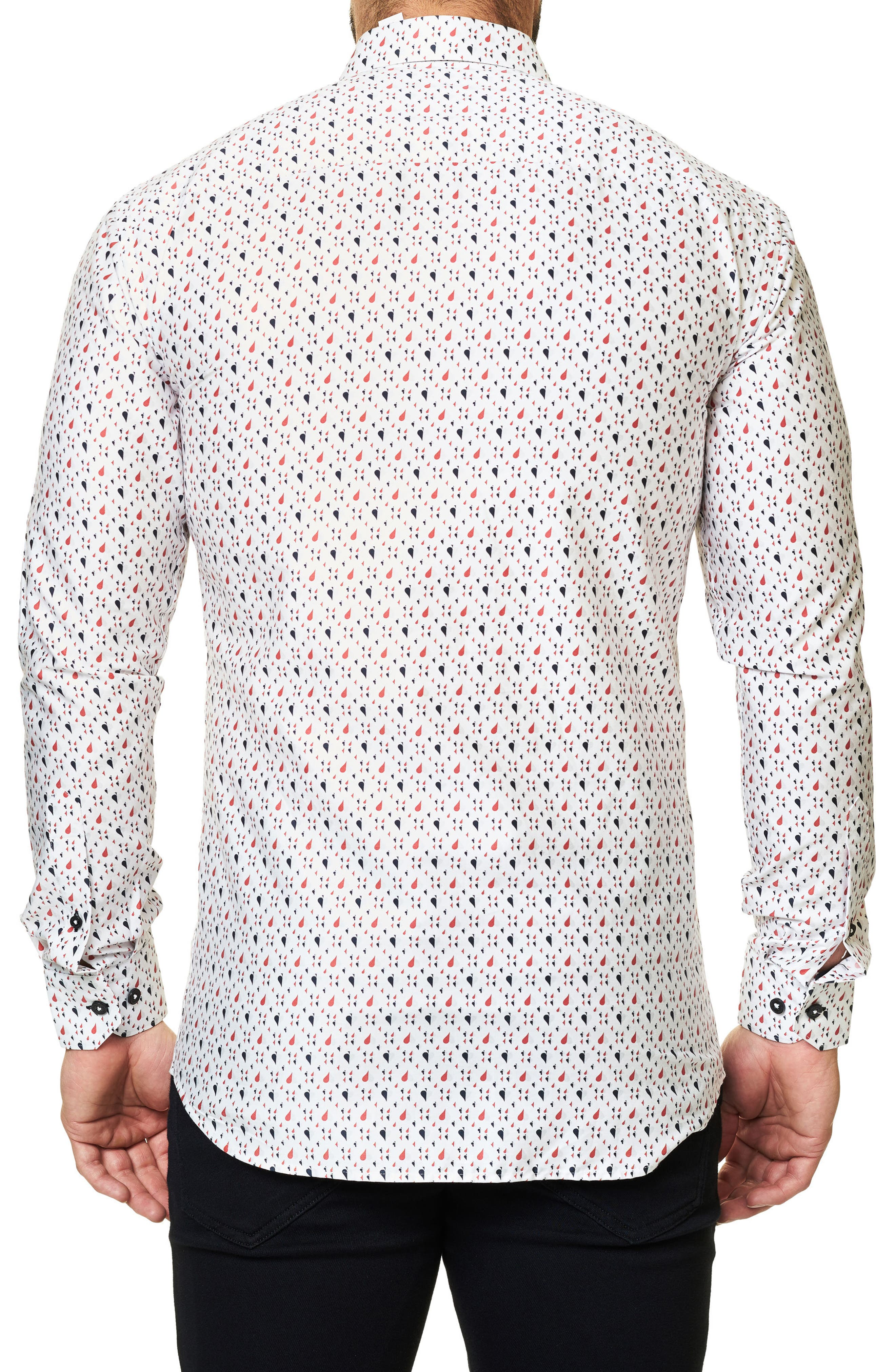 Trim Fit Print Sport Shirt,                             Alternate thumbnail 2, color,                             White