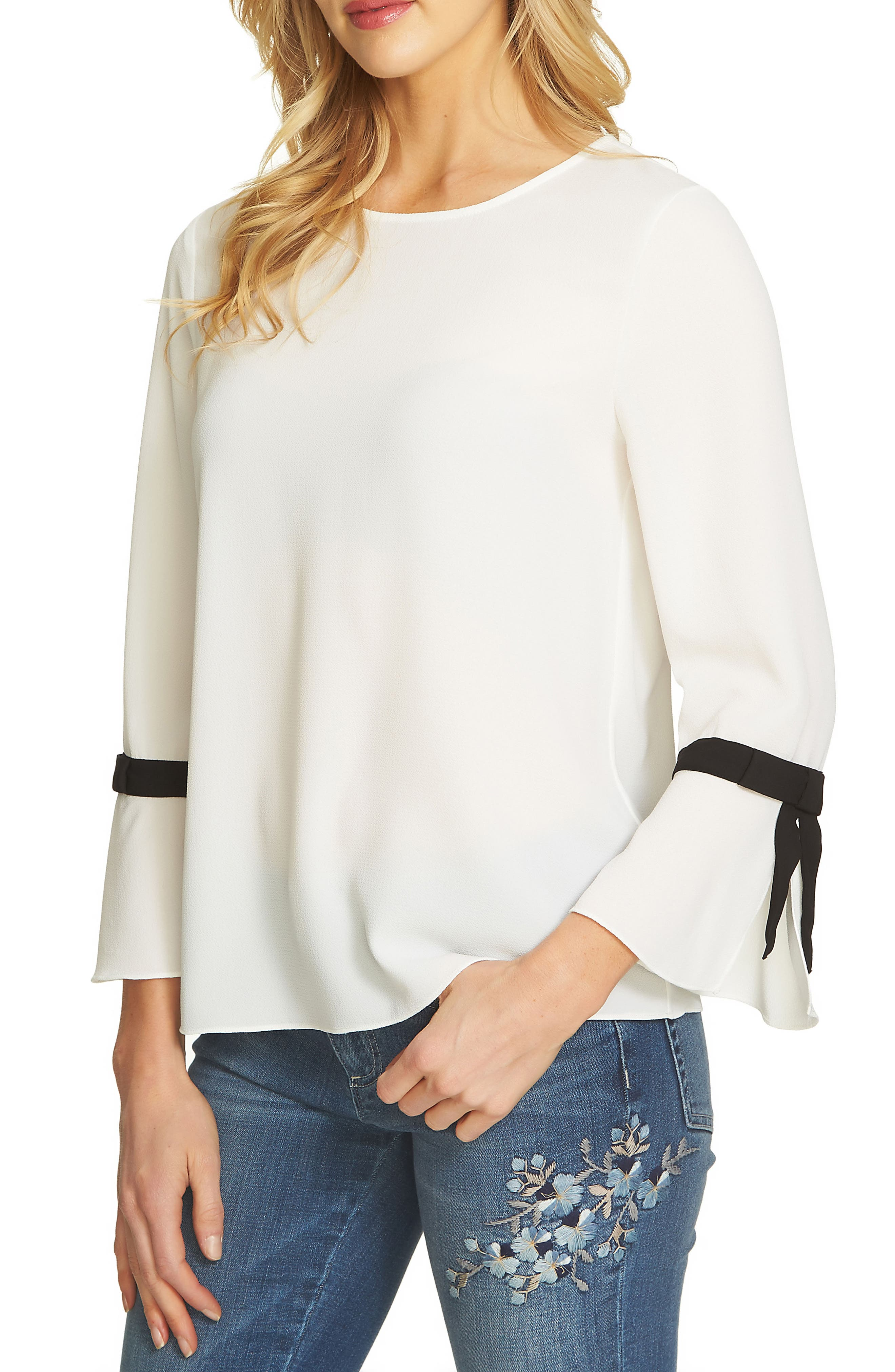 Tie Bell Sleeve Blouse,                         Main,                         color, New Ivory