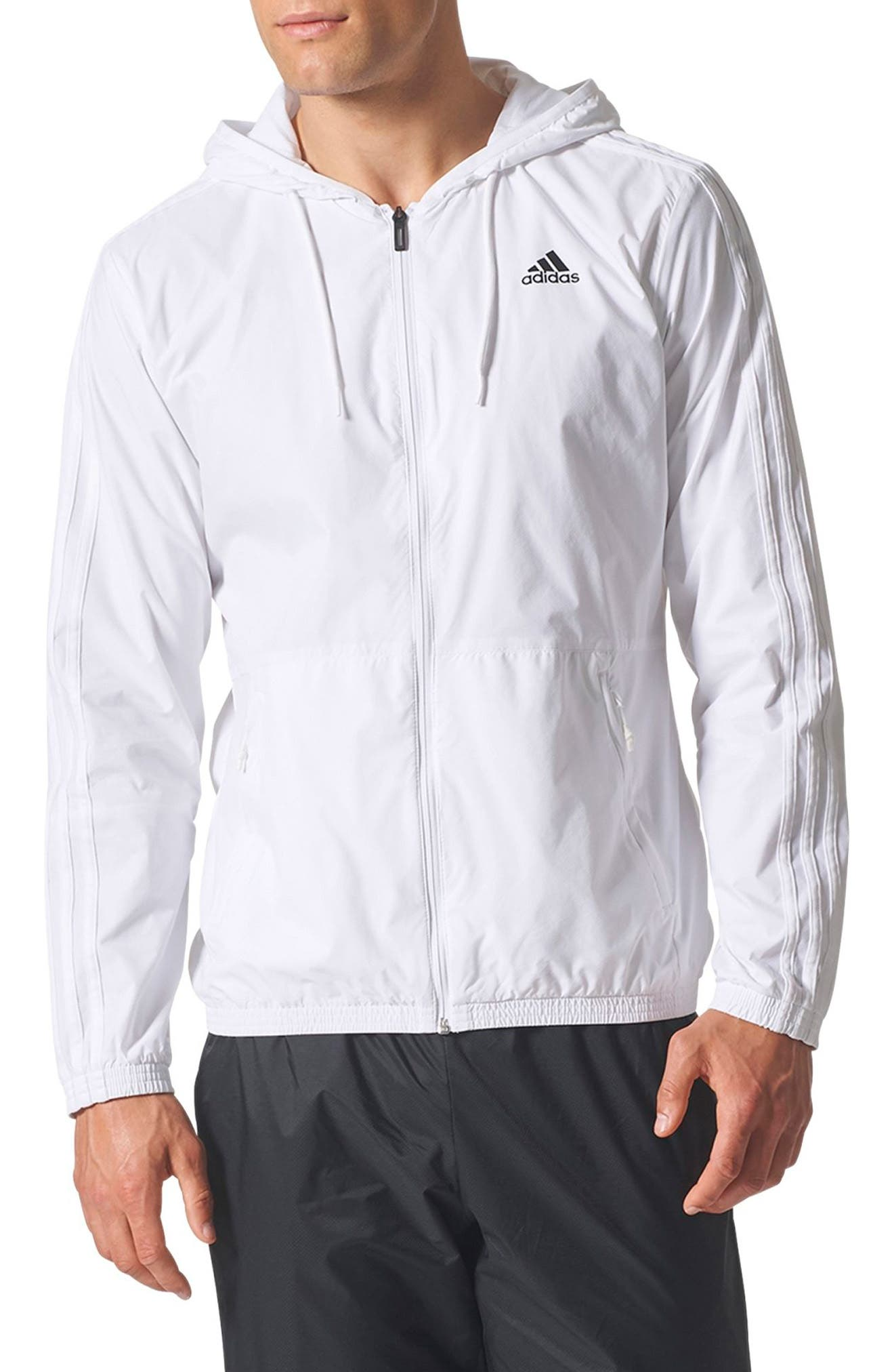 Essentials 3-Stripes Wind Zip Hoodie,                             Main thumbnail 1, color,                             White / White