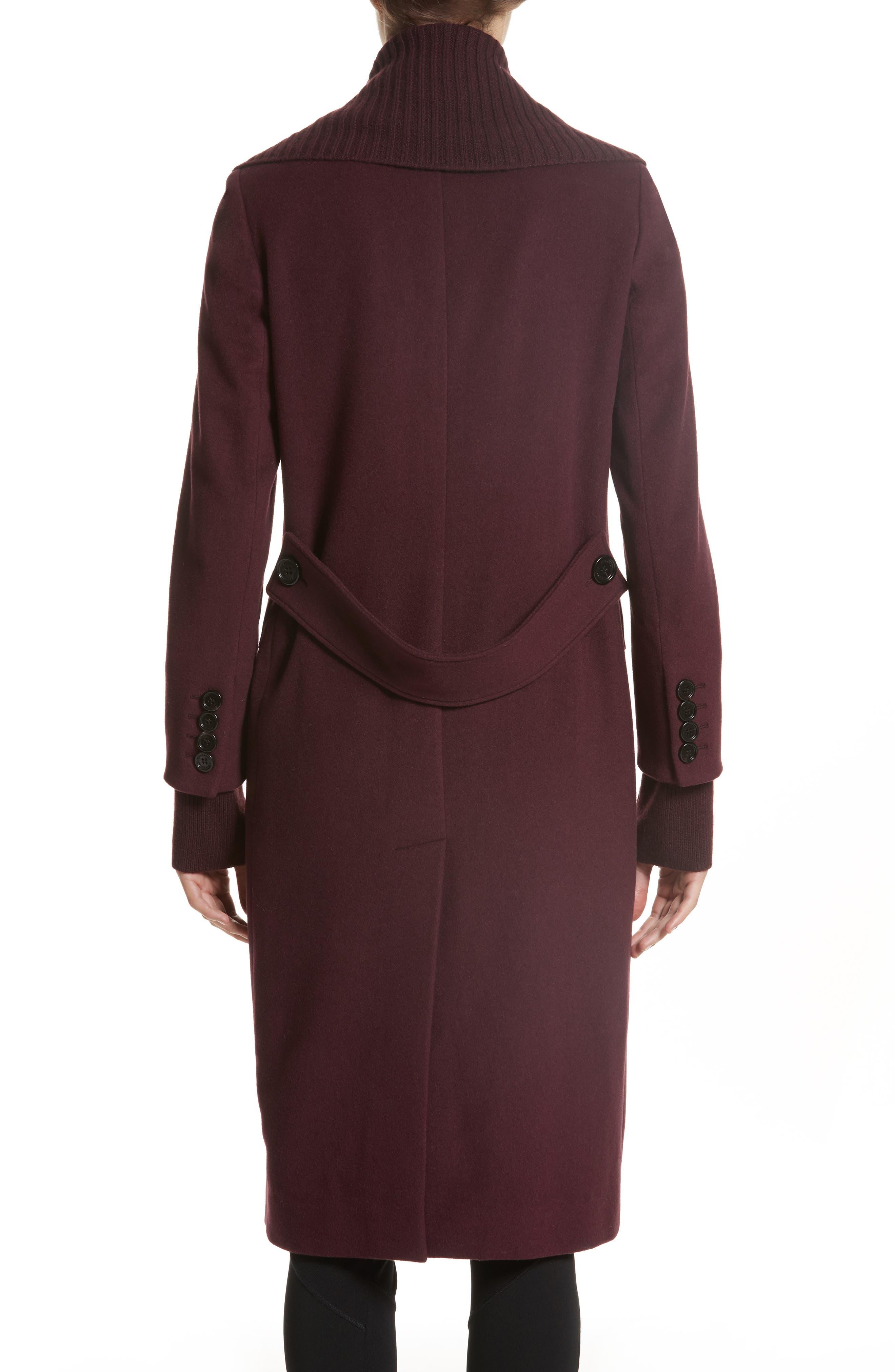 Cairndale Knit Trim Cashmere Coat,                             Alternate thumbnail 3, color,                             Black Currant