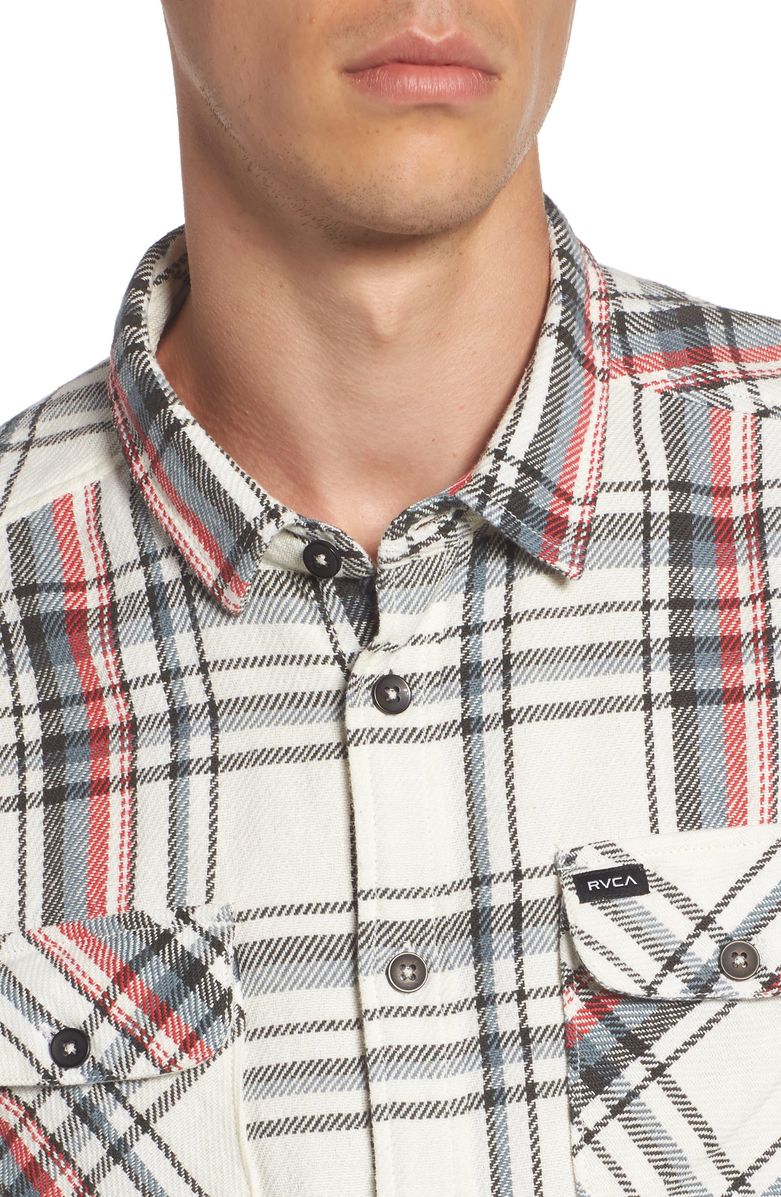 Alternate Image 4  - RVCA Camino Plaid Flannel Shirt