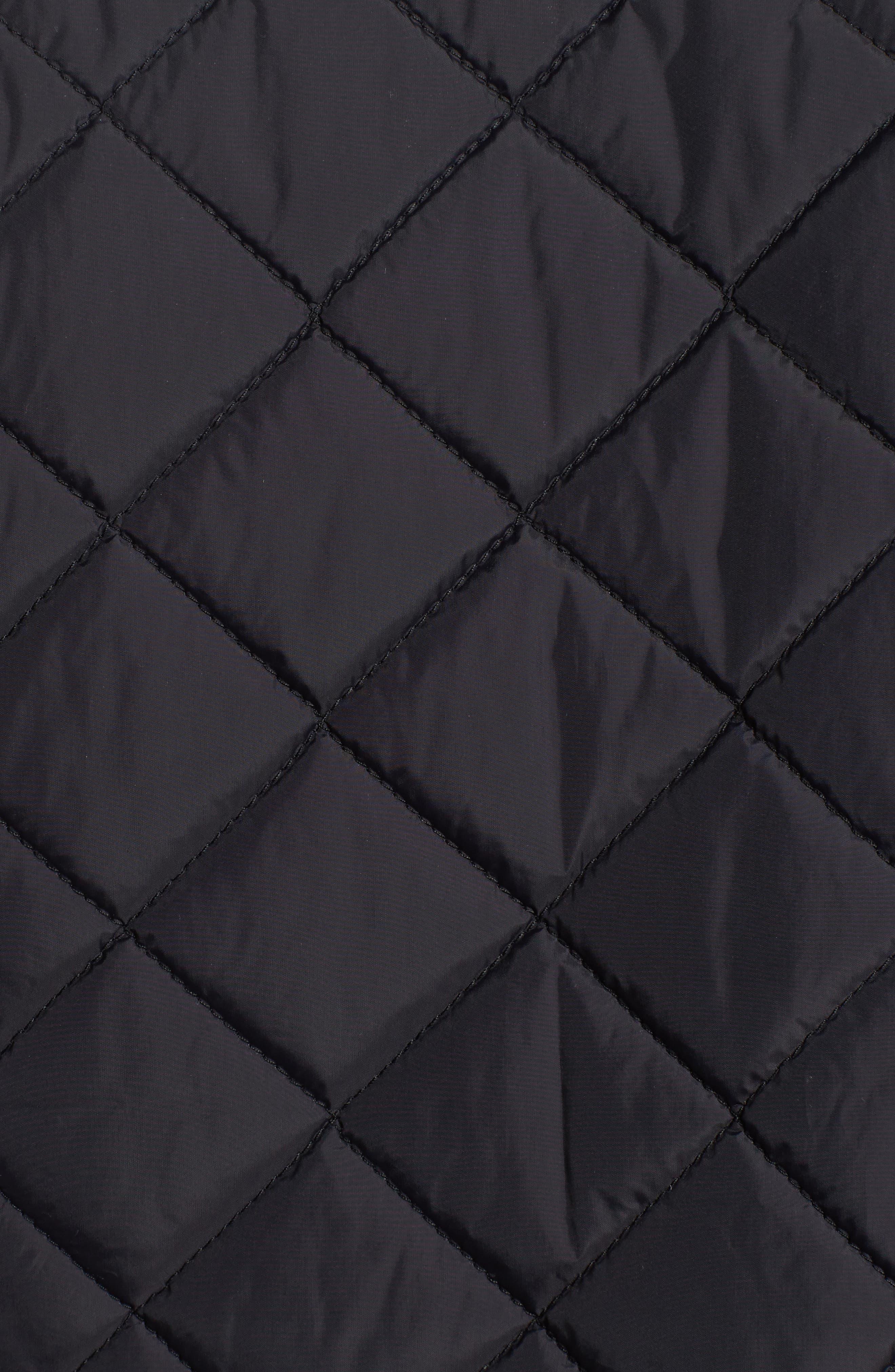 Diamond Quilted Full Zip Jacket,                             Alternate thumbnail 6, color,                             Black