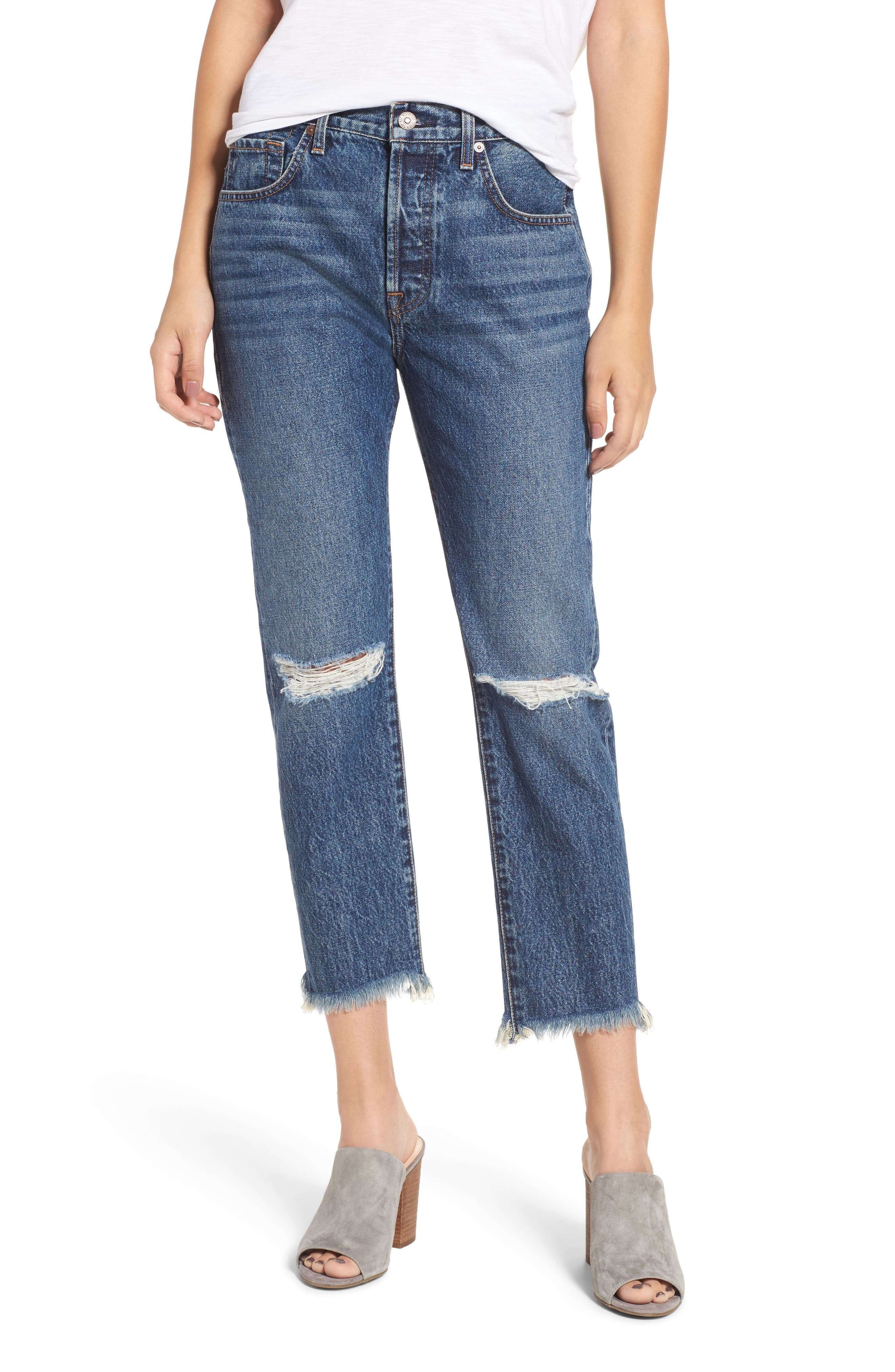 Main Image - 7 For All Mankind® Josefina Destroyed Boyfriend Jeans (Montreal)