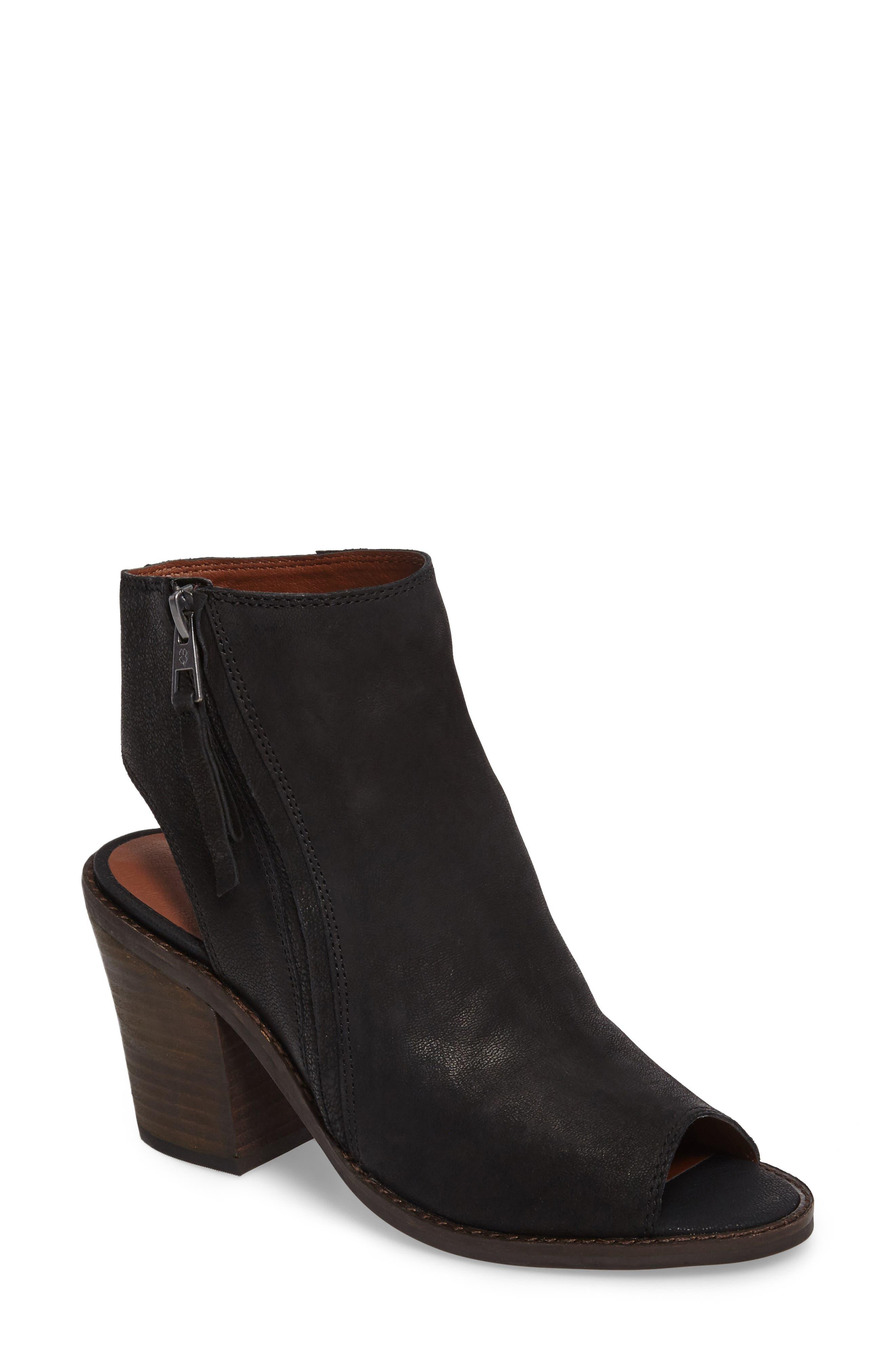 Terrie Peep Toe Bootie,                             Main thumbnail 1, color,                             Black Leather