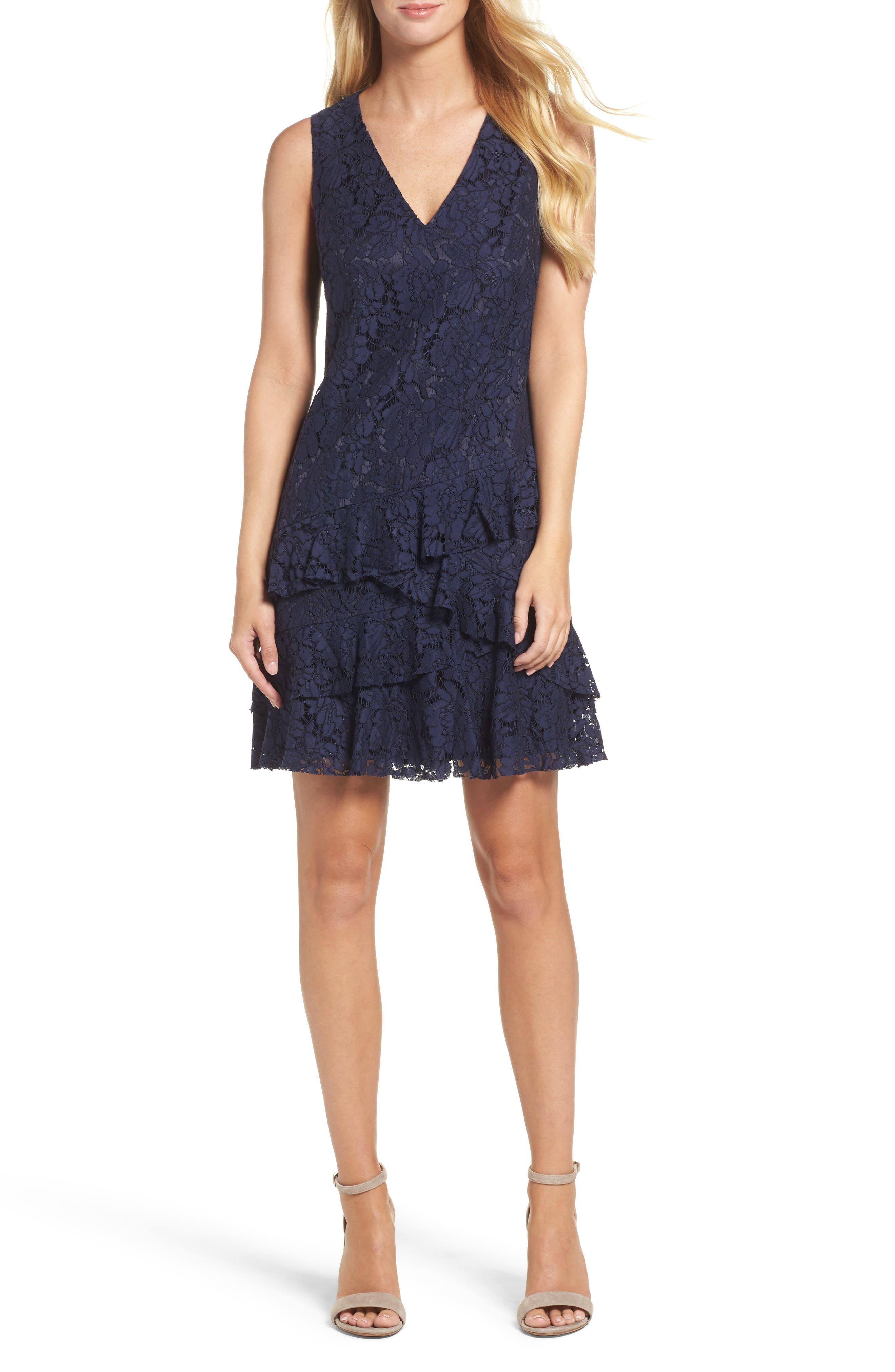 Ruffle Lace Shift Dress,                         Main,                         color, Navy