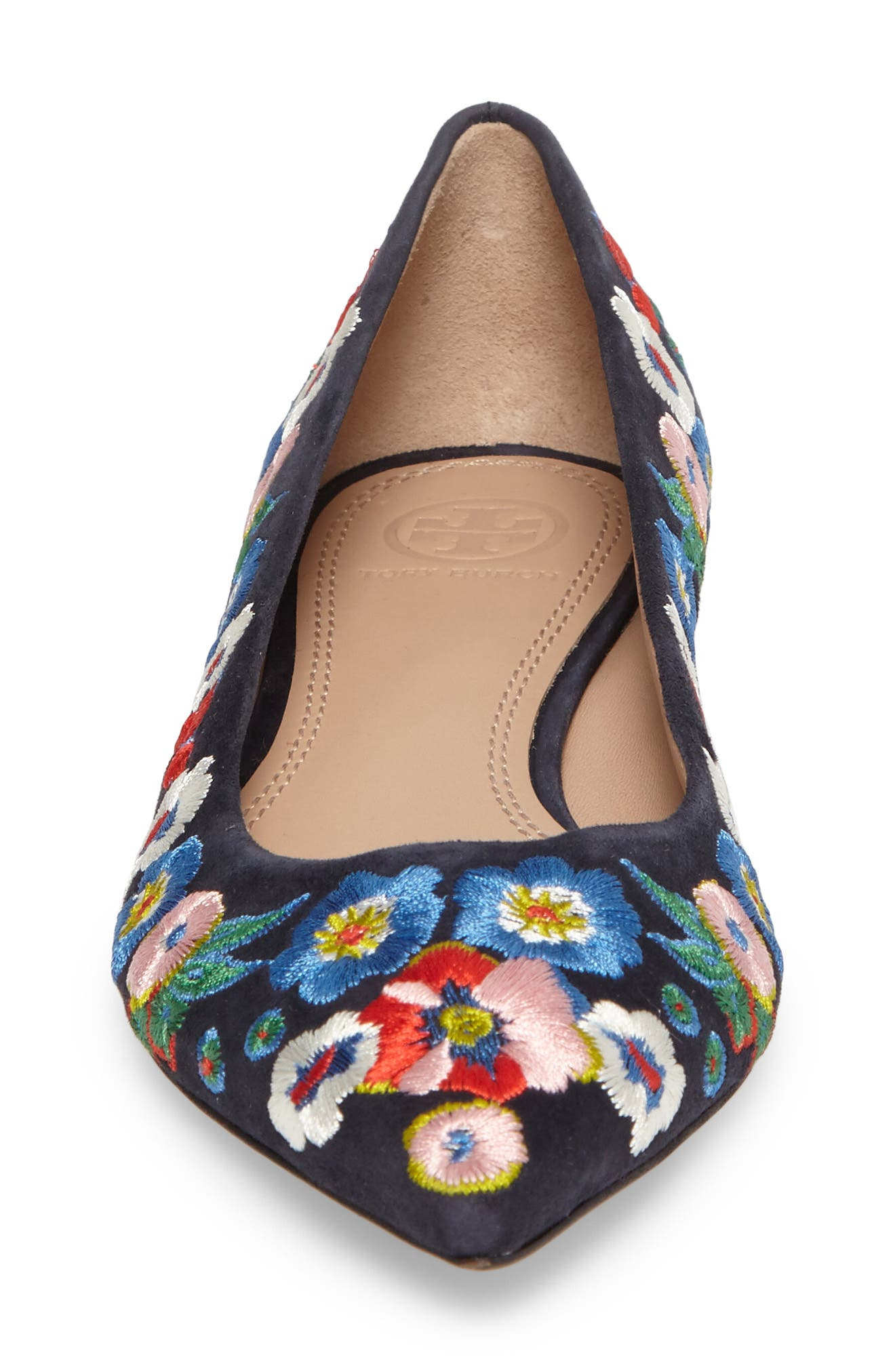 Rosemont Flower Embroidered Flat,                             Alternate thumbnail 4, color,                             Tory Navy/ Pansy Bouquet