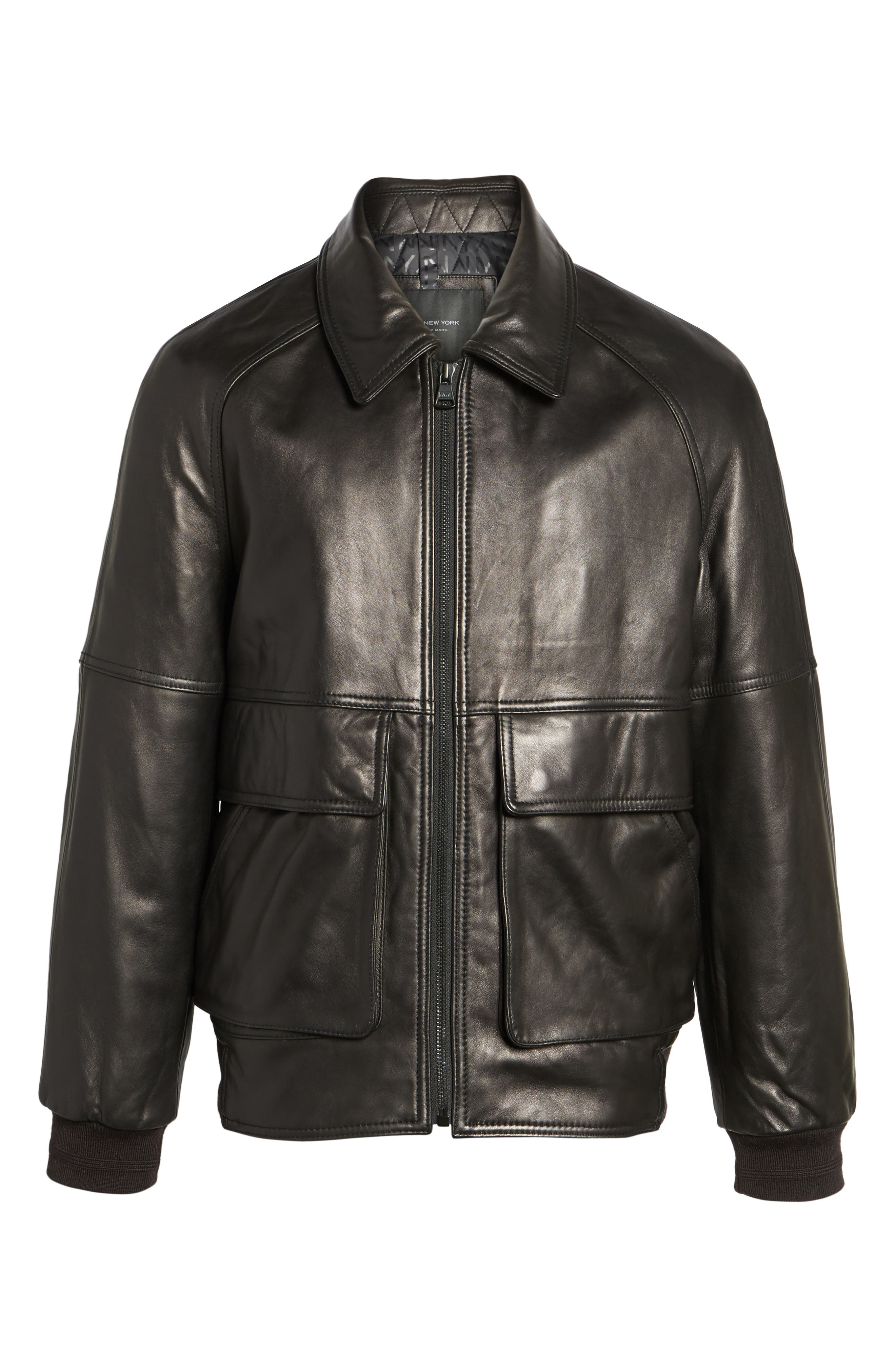 Andrew Marc Lambskin Leather Aviator Jacket,                             Alternate thumbnail 5, color,                             Black