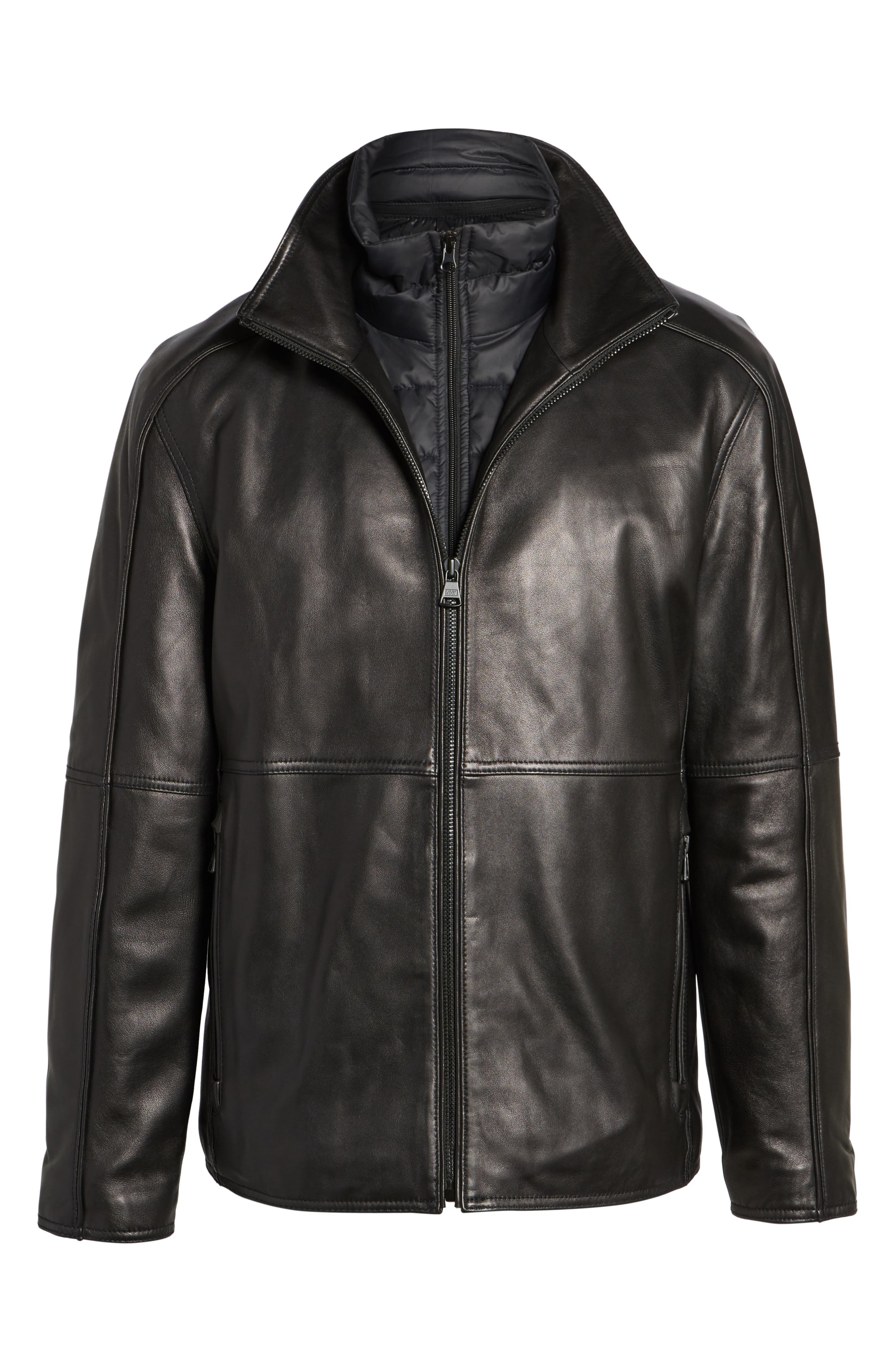 Leather Jacket with Quilted Insert,                             Alternate thumbnail 5, color,                             Black