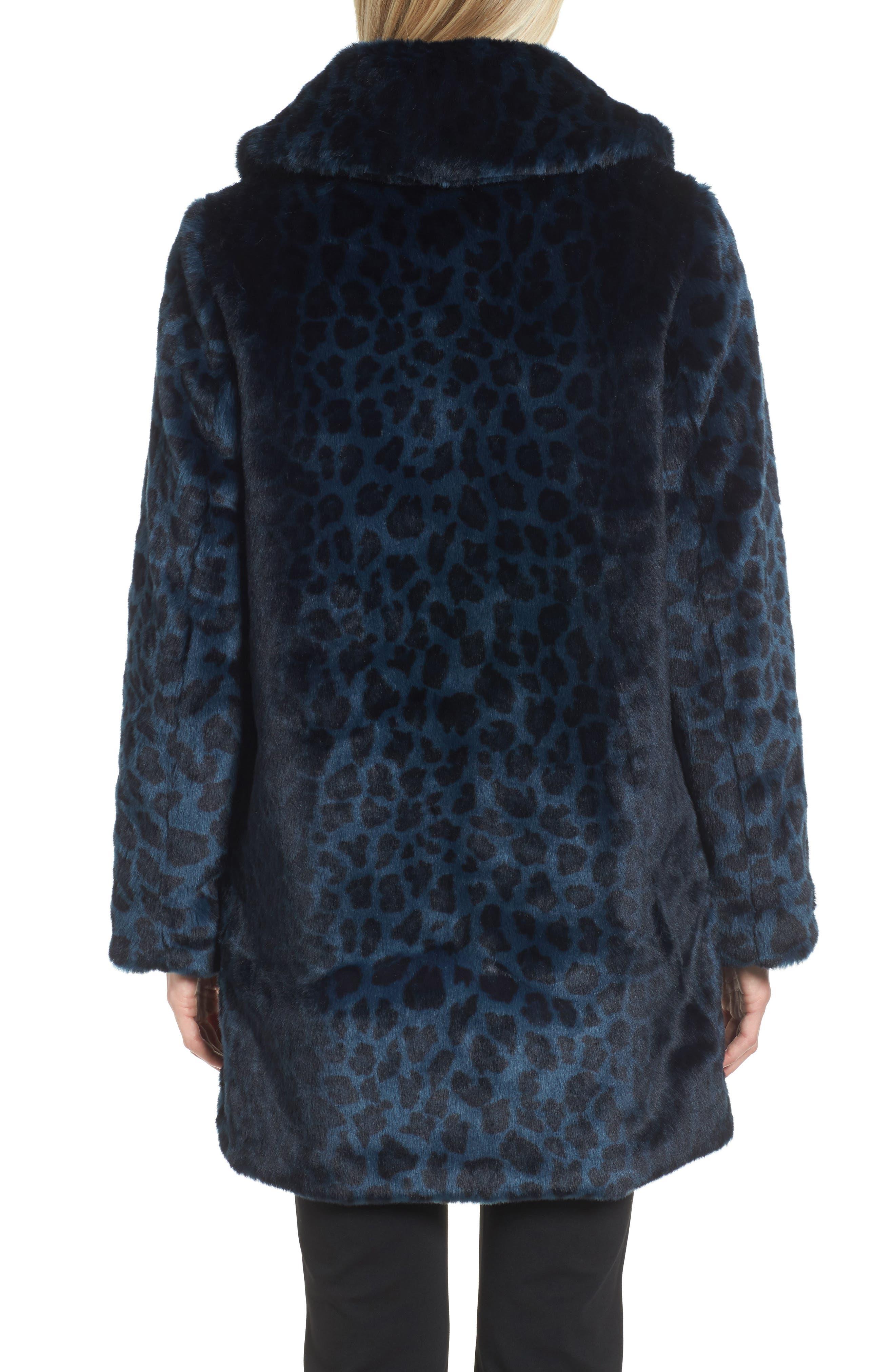 Reversible Cheetah Print Faux Fur Jacket,                             Alternate thumbnail 2, color,                             Navy