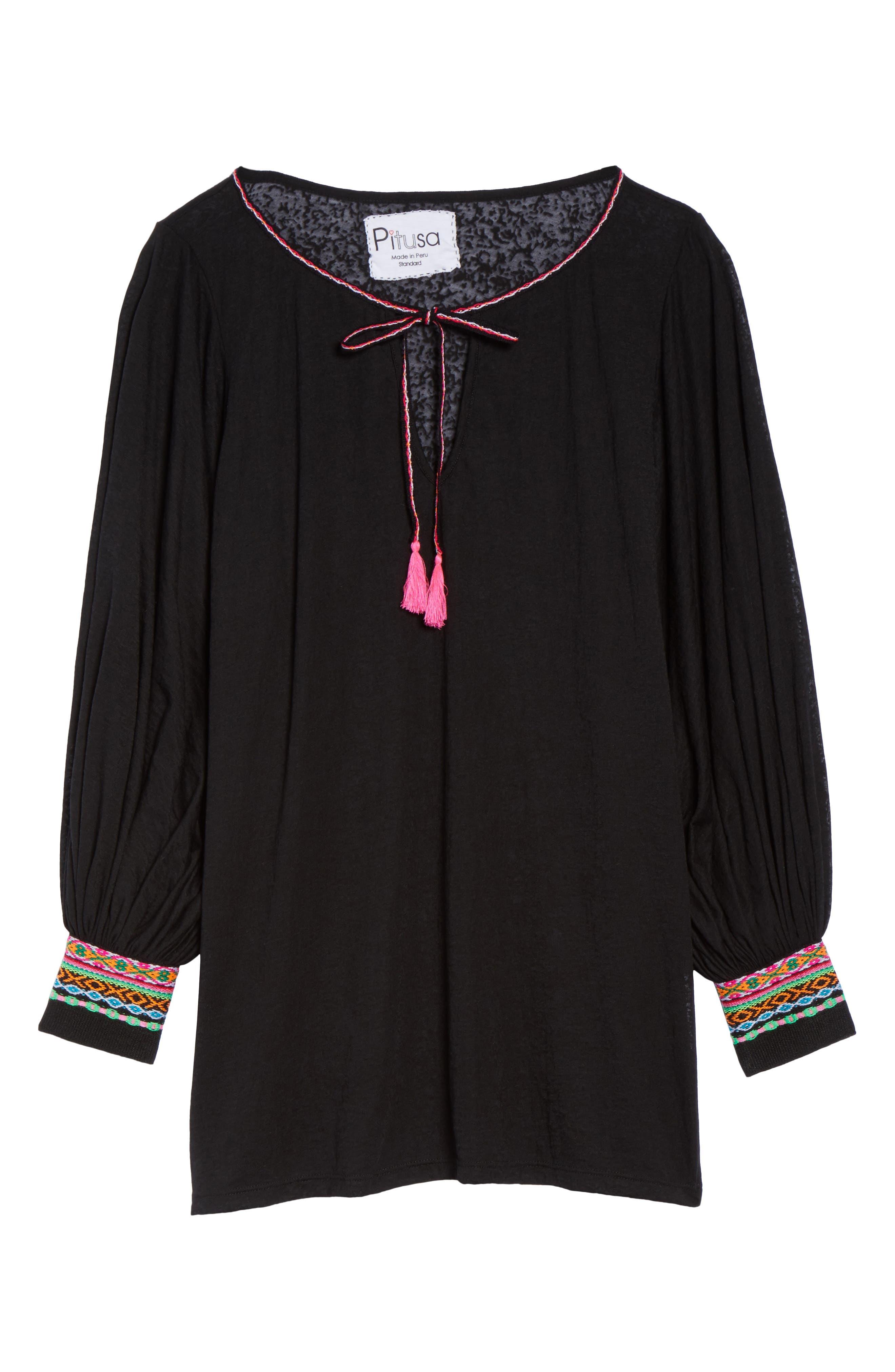 Inca Cover-Up Dress,                             Alternate thumbnail 6, color,                             Black