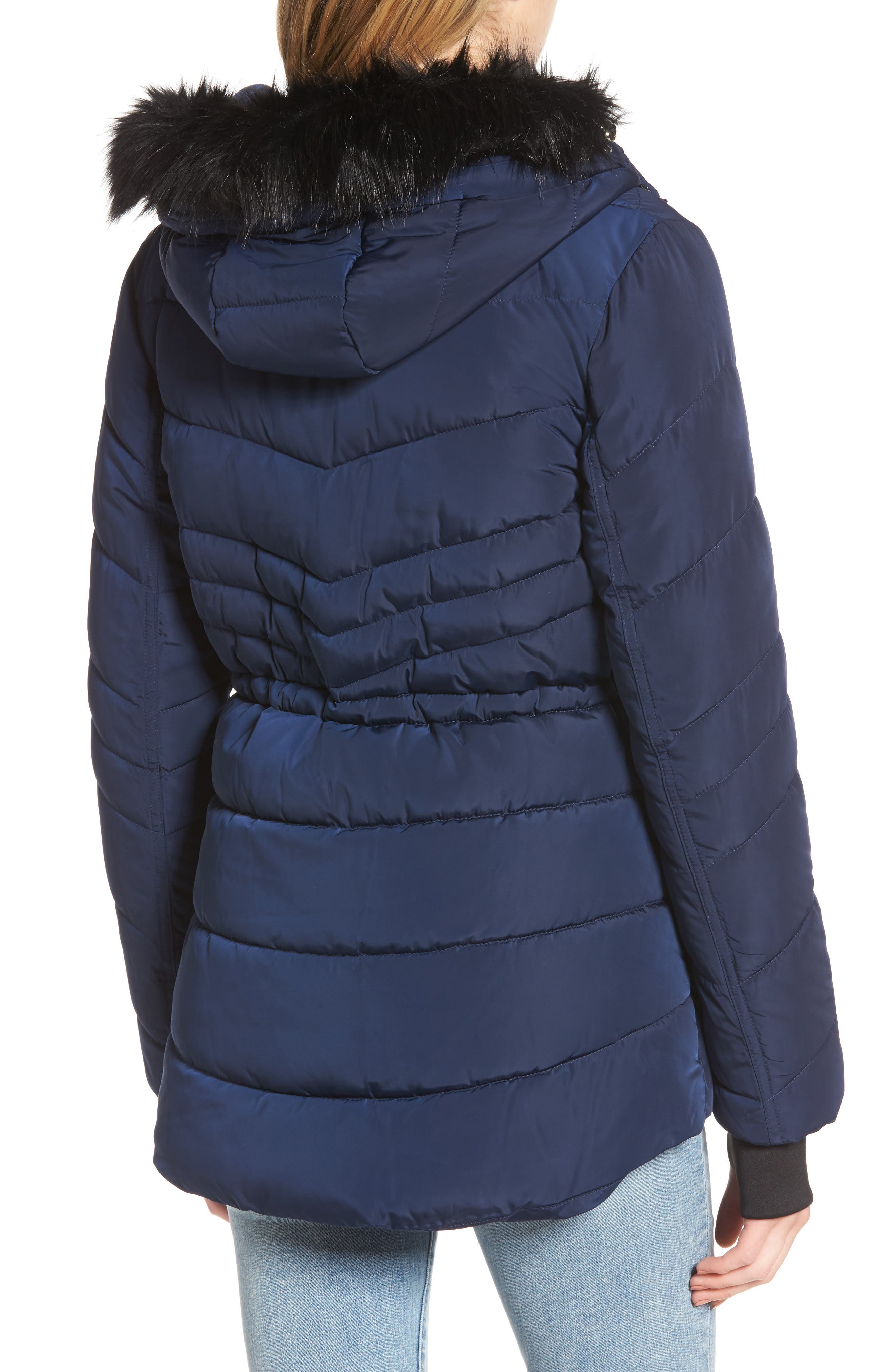 Alternate Image 2  - GUESS Faux Fur Trim Quilted Anorak