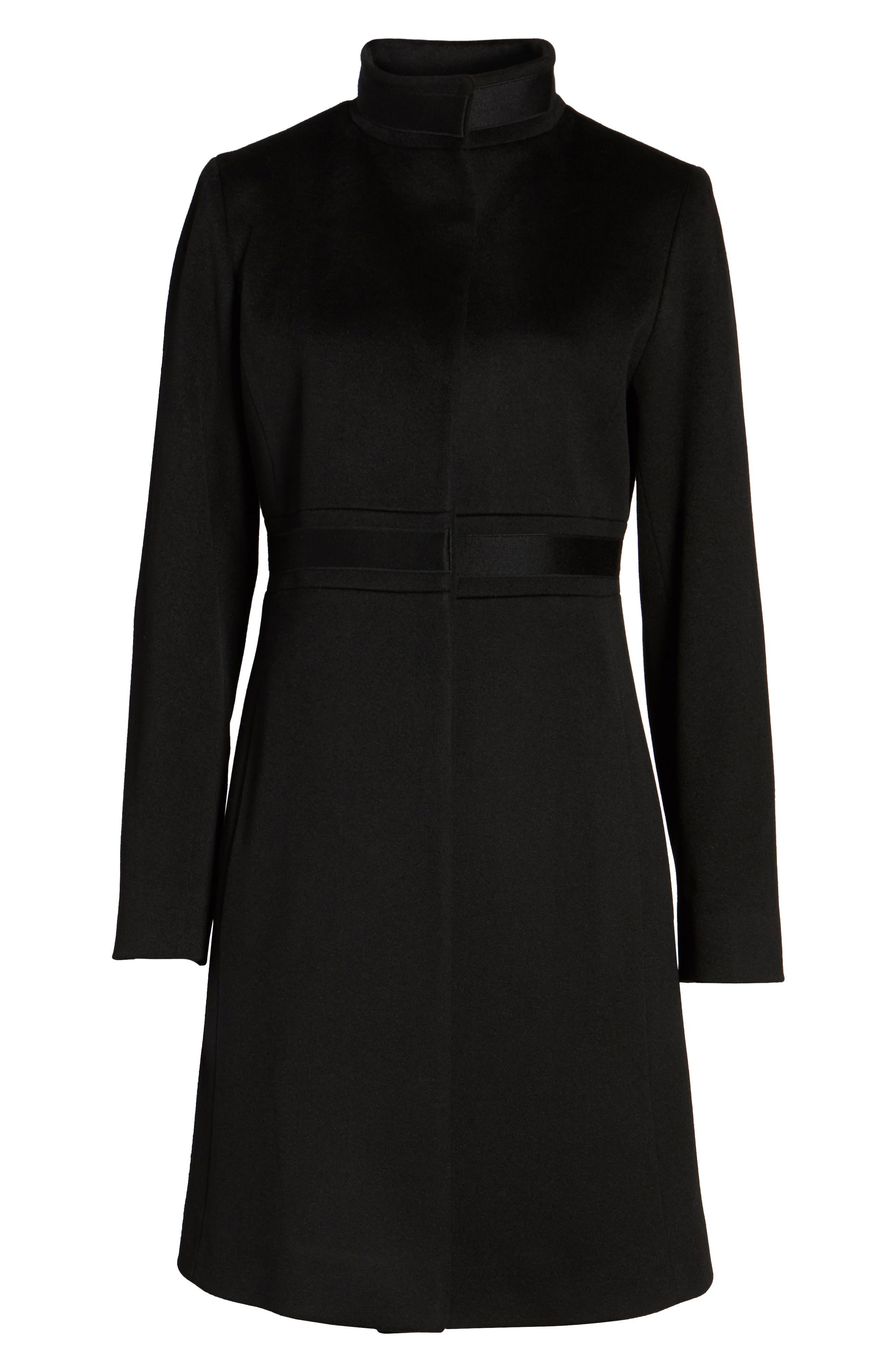 Appliqué Wool Coat,                             Alternate thumbnail 6, color,                             Black