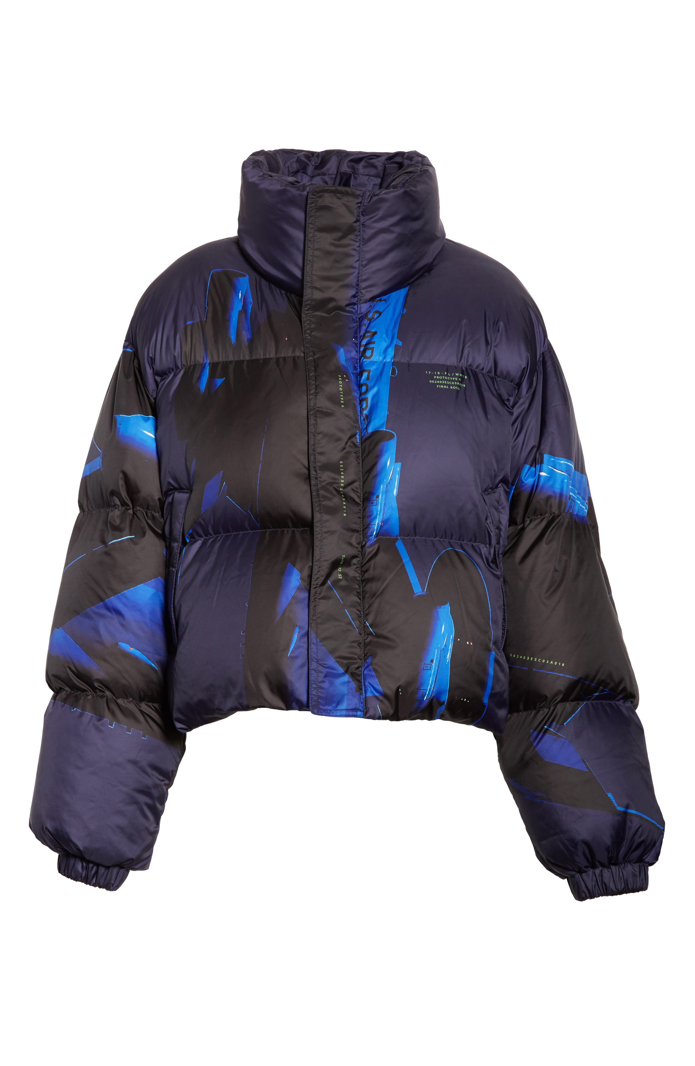 Printed Down Bomber Jacket,                             Alternate thumbnail 8, color,                             Blue