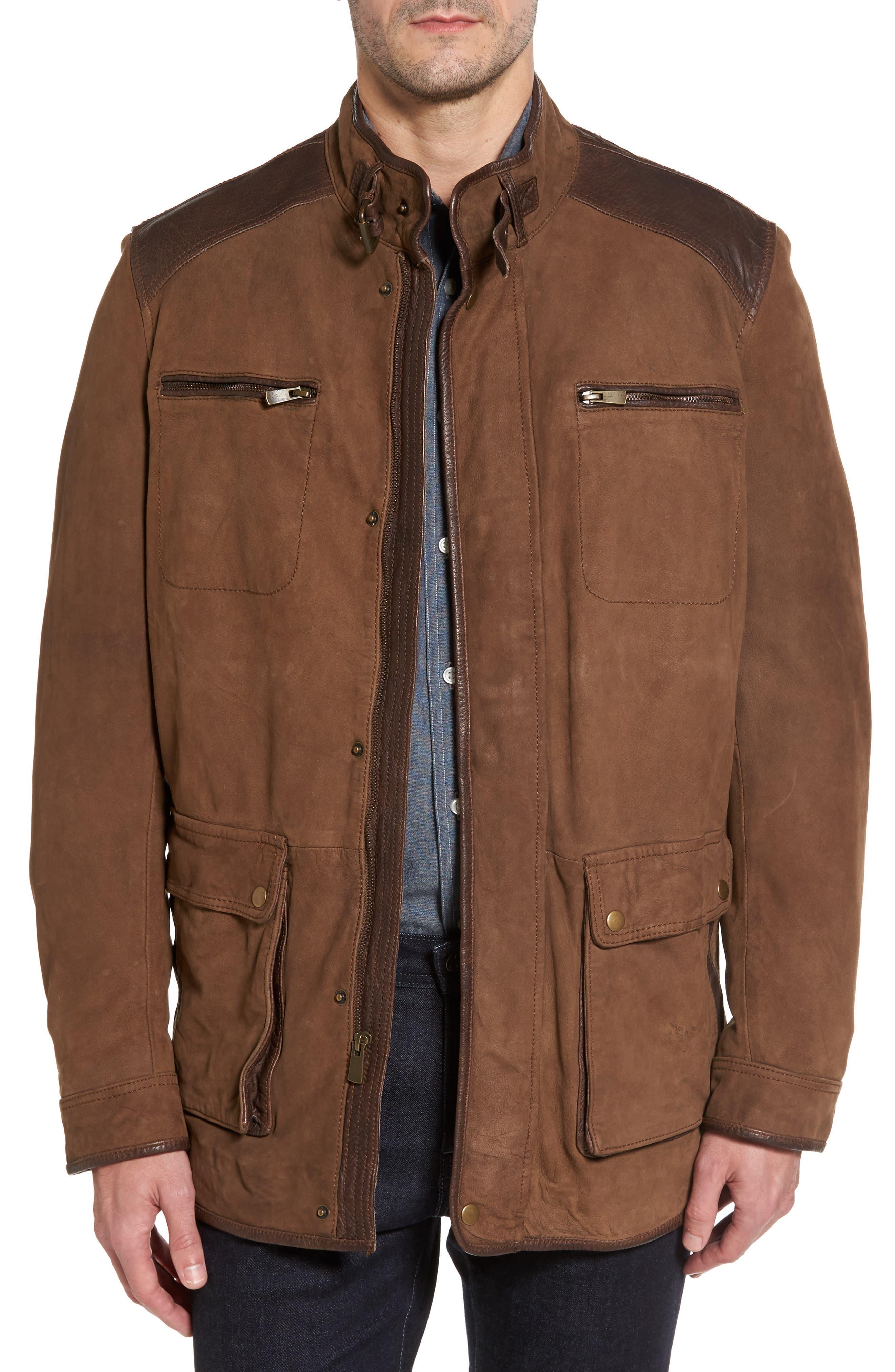 Leather Trim Nubuck Jacket,                         Main,                         color, Oak