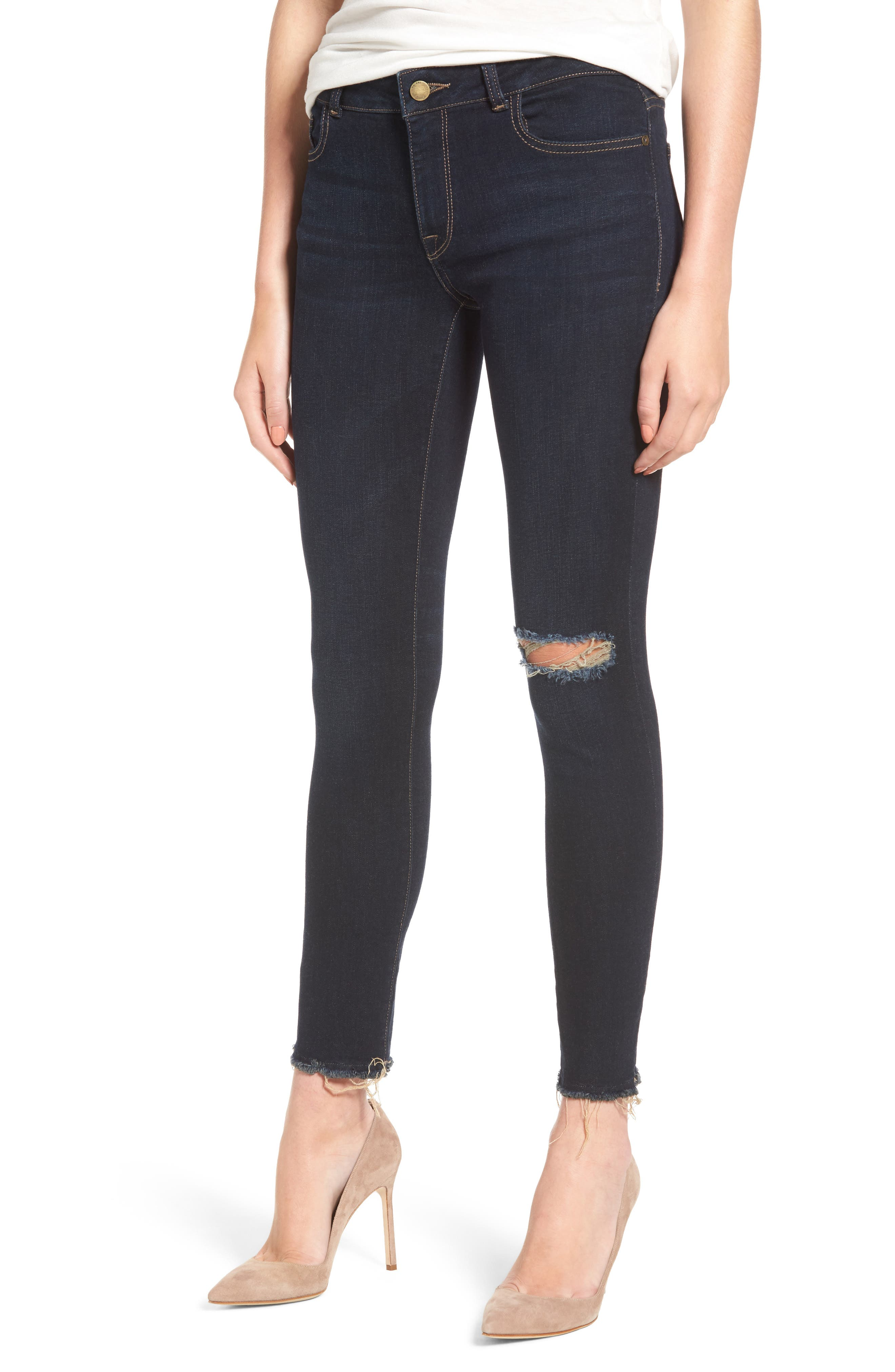 Alternate Image 1 Selected - DL1961 Margaux Instasculpt Ripped Ankle Skinny Jeans (Halsey)
