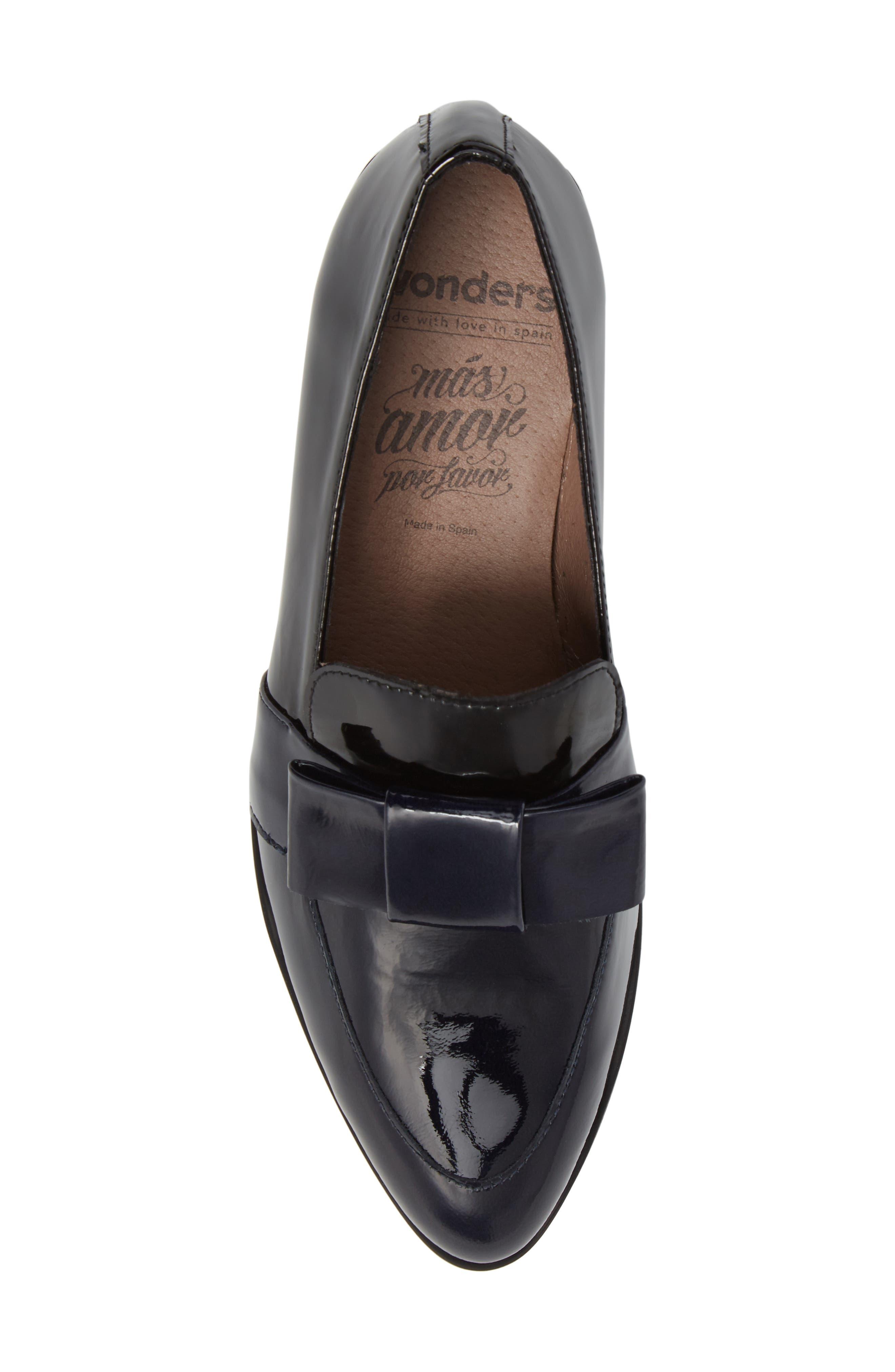 Block Heel Loafer Pump,                             Alternate thumbnail 5, color,                             Navy/ Black Patent Leather