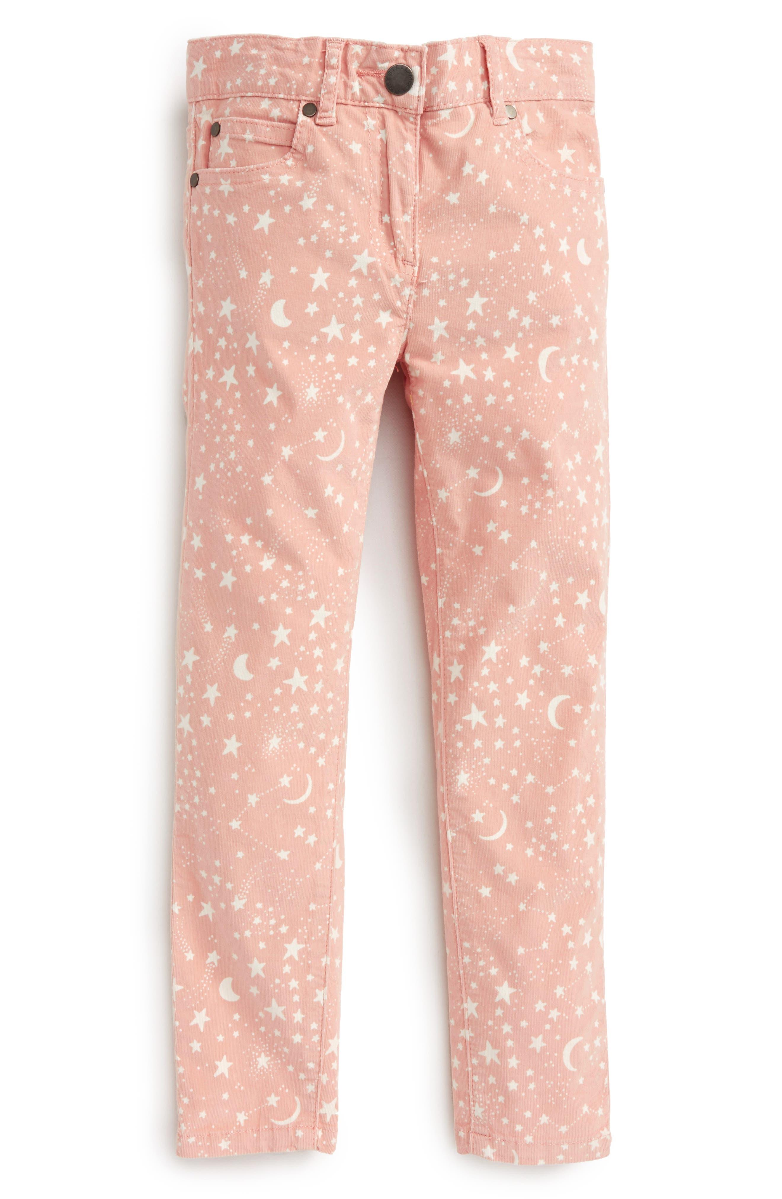 Kids Nina Star & Moon Print Skinny Corduroy Pants,                             Main thumbnail 1, color,                             Pink