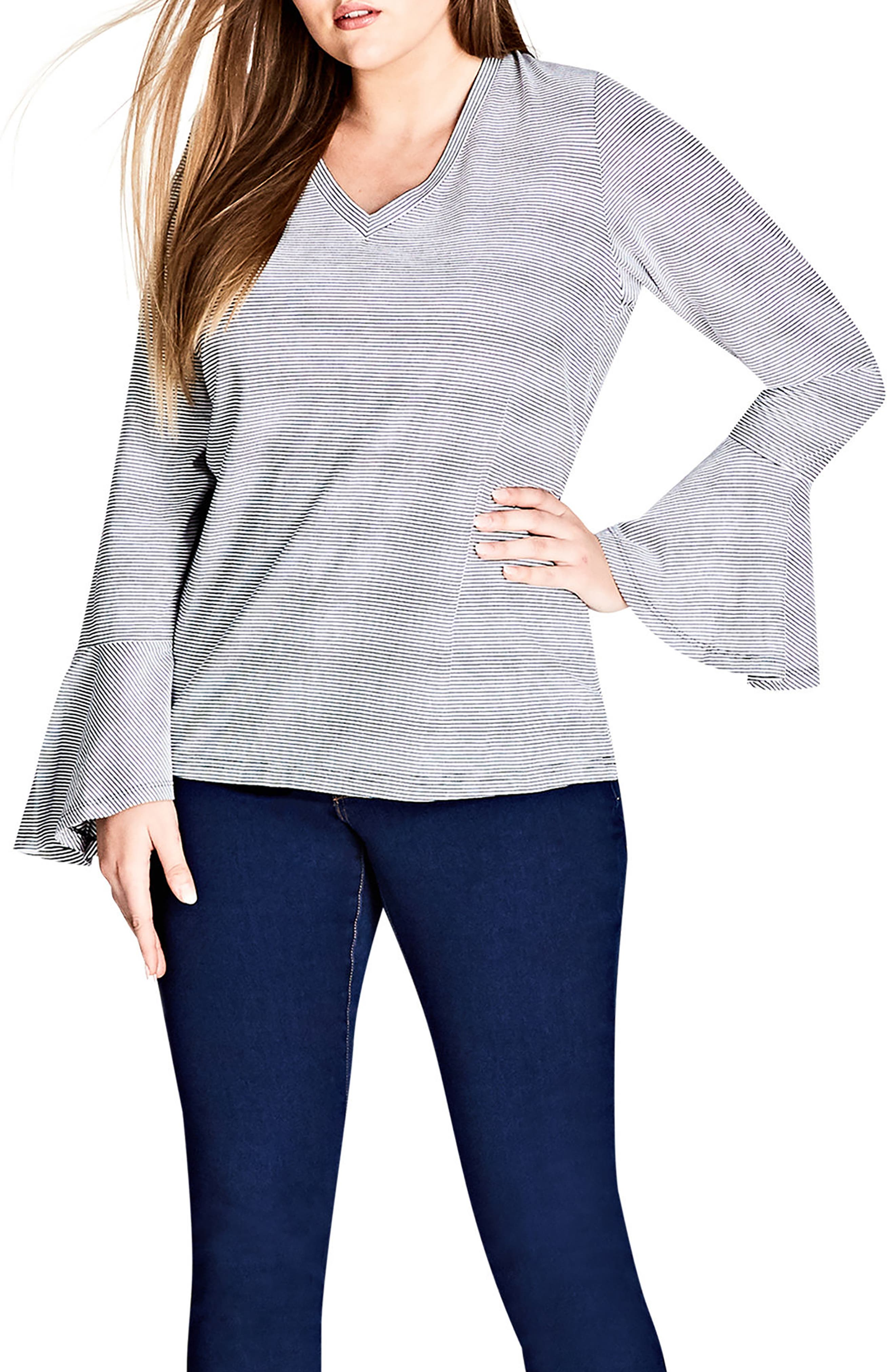 City Chic Bell Sleeve Stripe V-Neck Top (Plus Size)