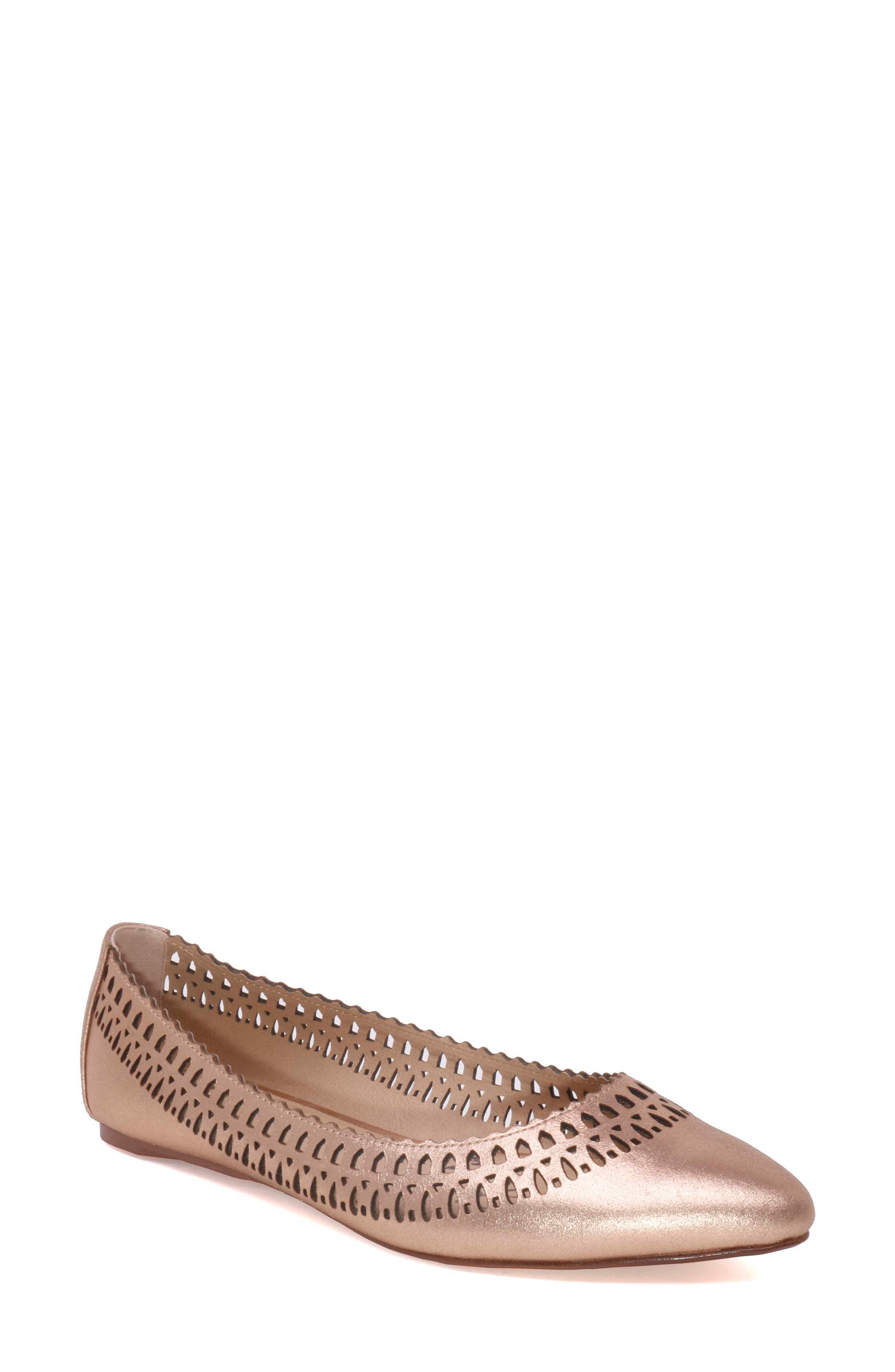 Cora Flat,                             Main thumbnail 1, color,                             Rose Gold Leather