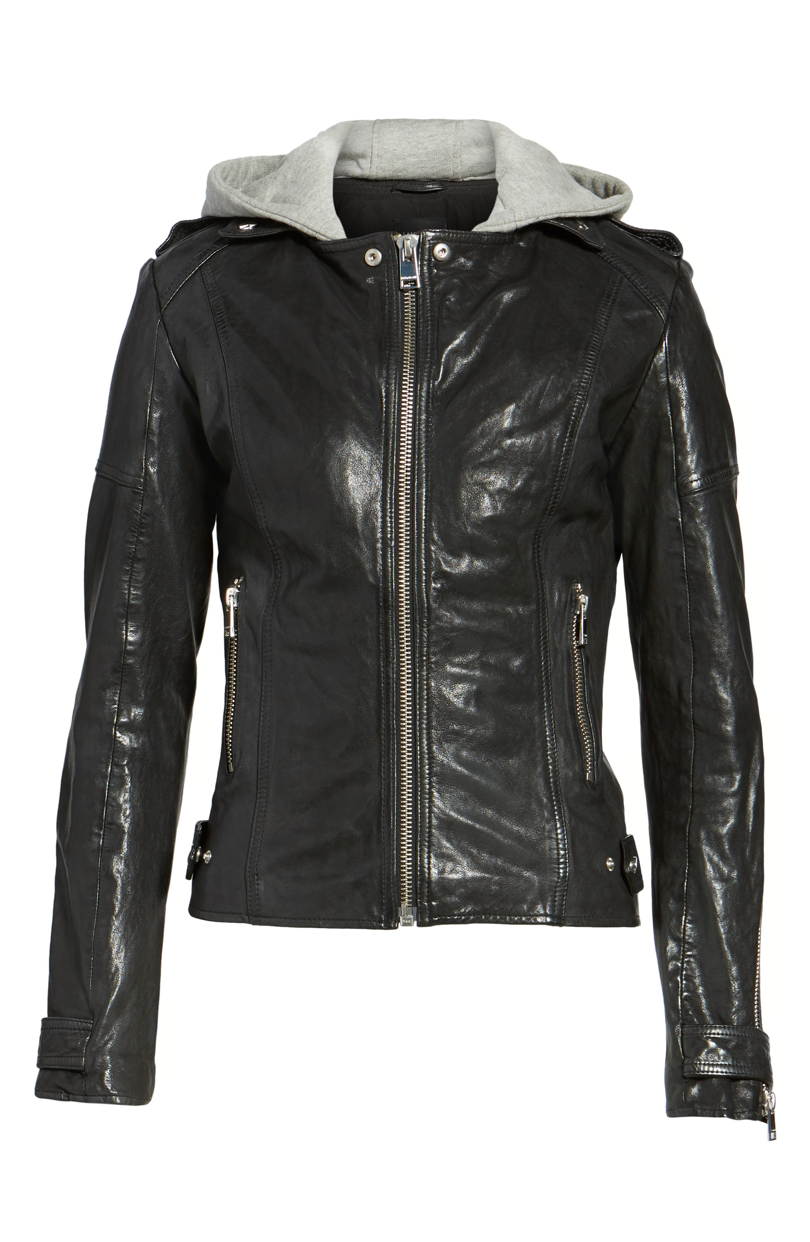 Hooded Leather Biker Jacket,                             Alternate thumbnail 6, color,                             Black