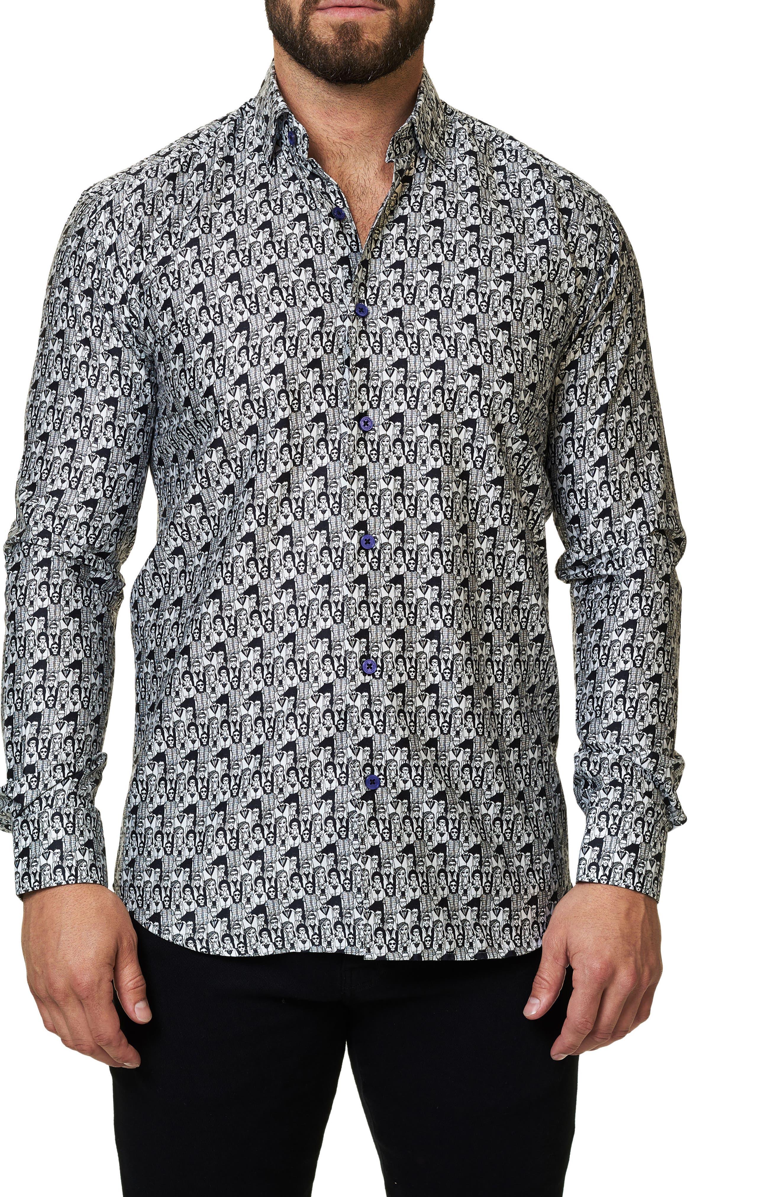 Graphic Trim Fit Sport Shirt,                         Main,                         color, Black