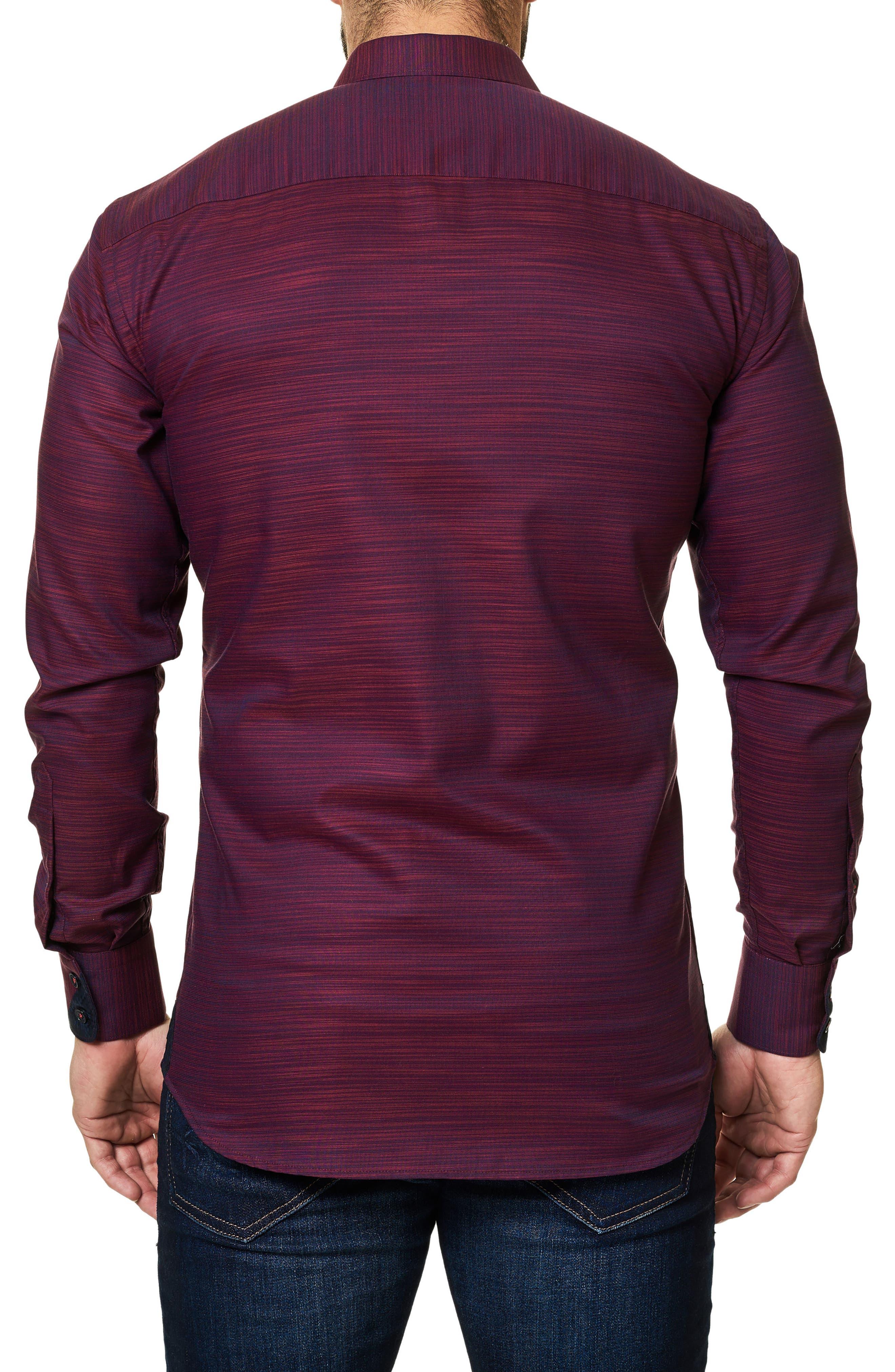 Trim Fit Print Sport Shirt,                             Alternate thumbnail 2, color,                             Red
