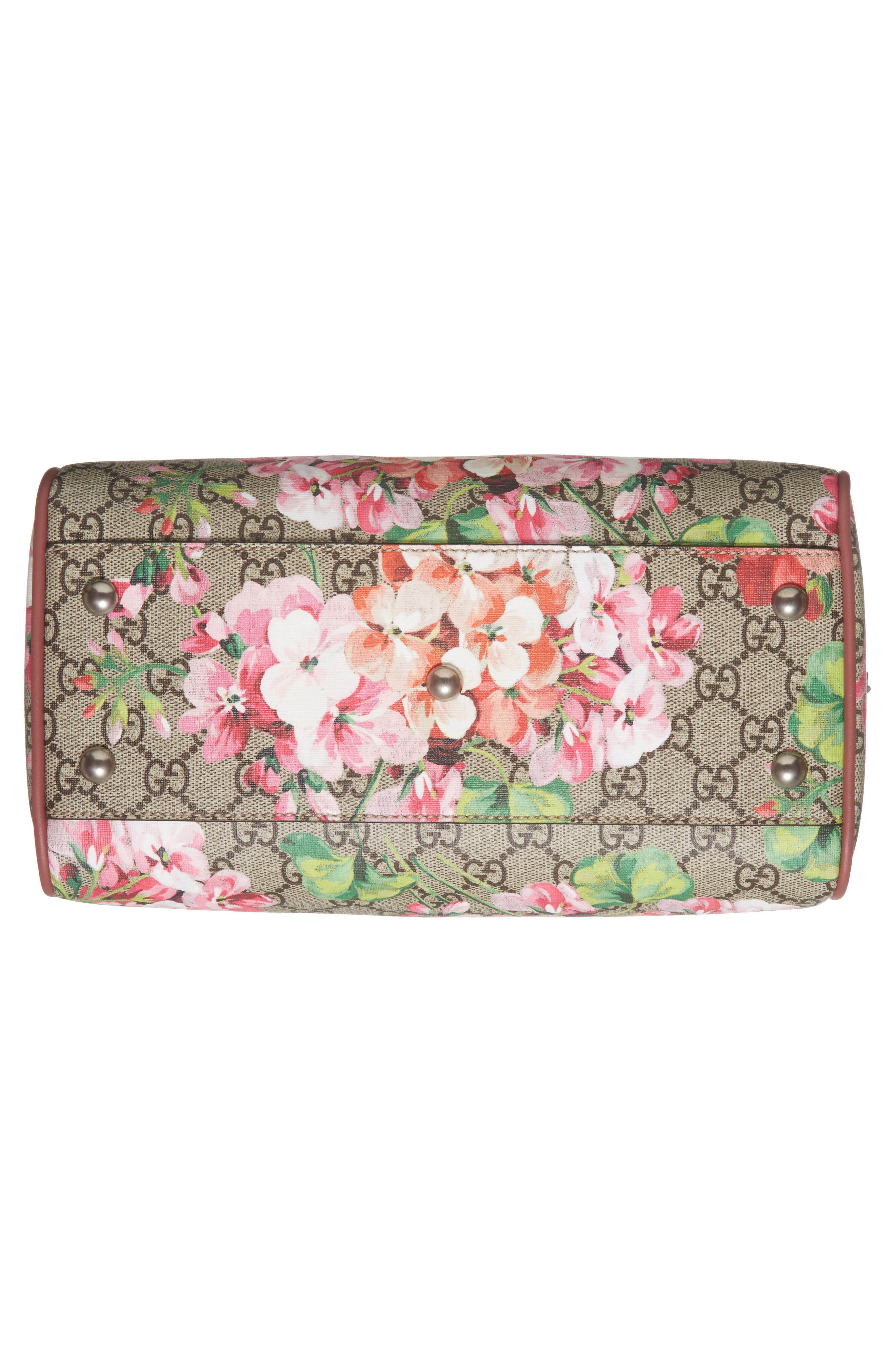 Small Blooms Top Handle GG Supreme Canvas Bag,                             Alternate thumbnail 5, color,                             Multi/Dry Rose