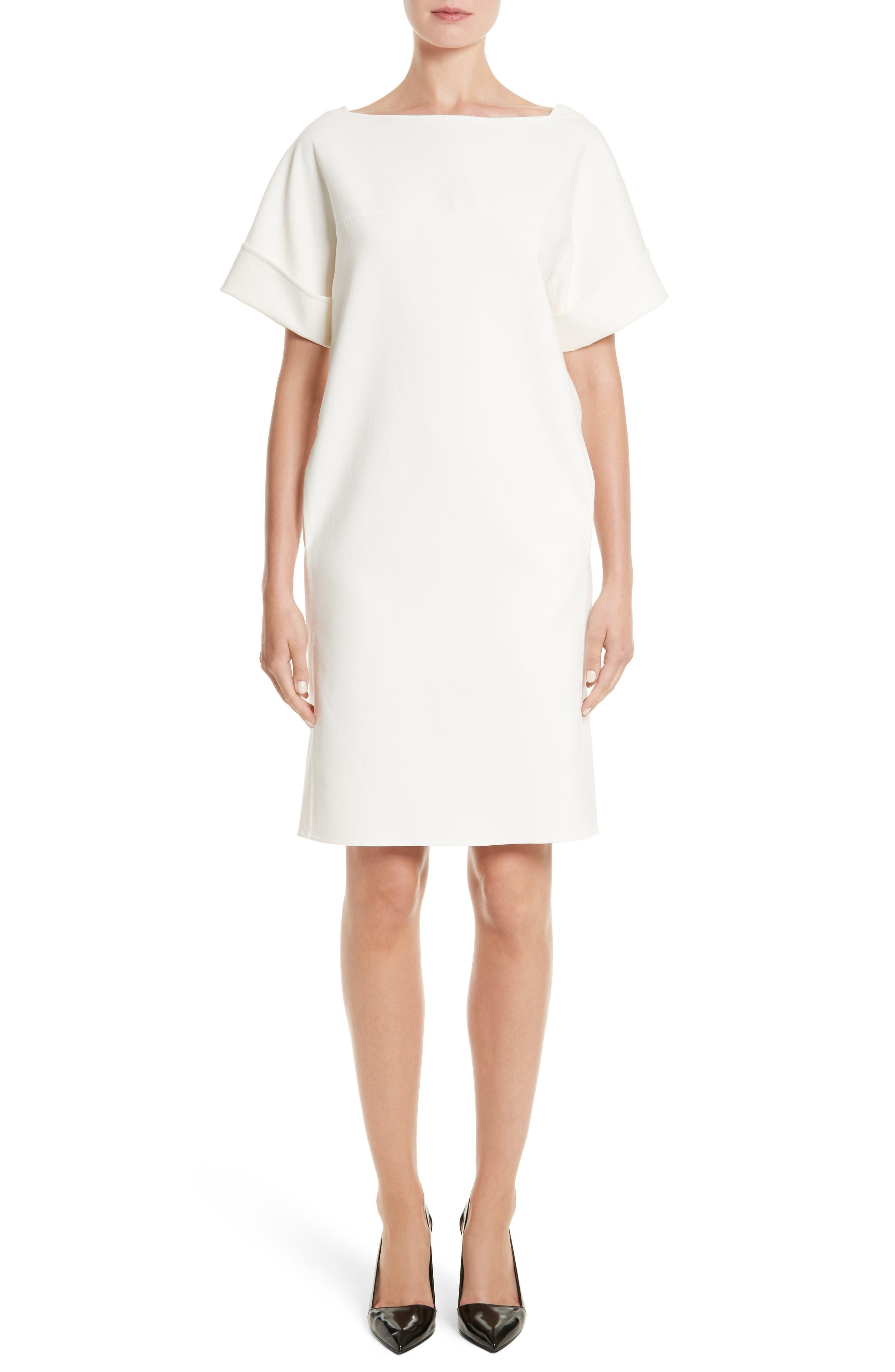 Double Face Stretch Cotton Back Tie Dress,                             Main thumbnail 1, color,                             Ivory