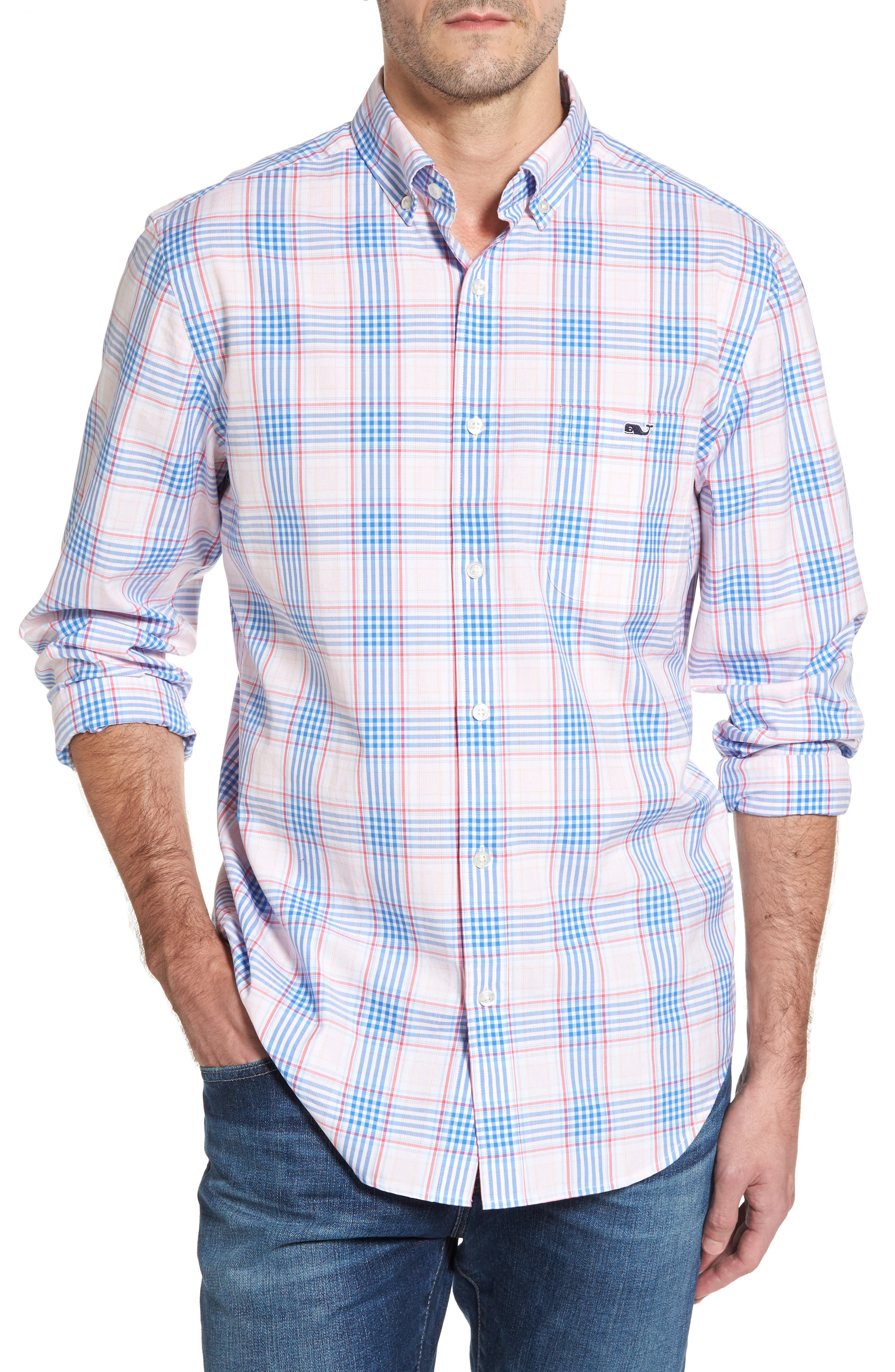 Pelican Plaid Tucker Classic Fit Sport Shirt,                         Main,                         color, Rose Pink