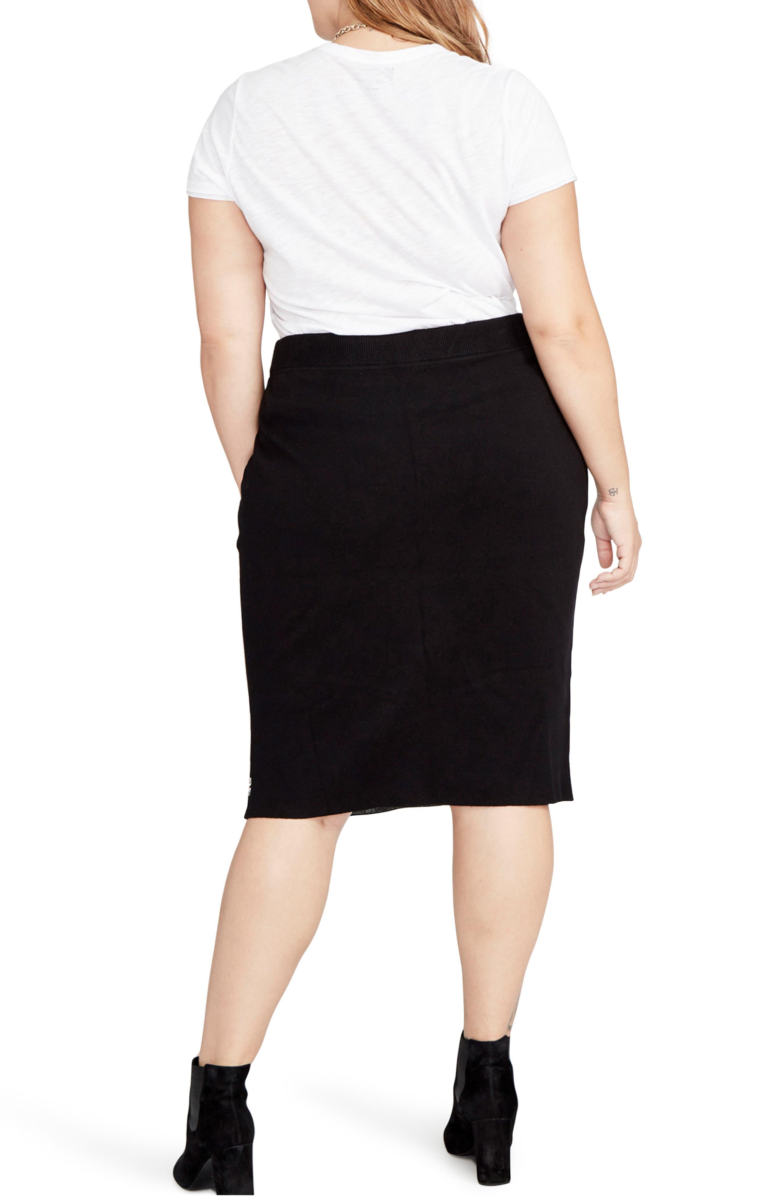Paisley Knit Pencil Skirt,                             Alternate thumbnail 2, color,                             Black/ Natural