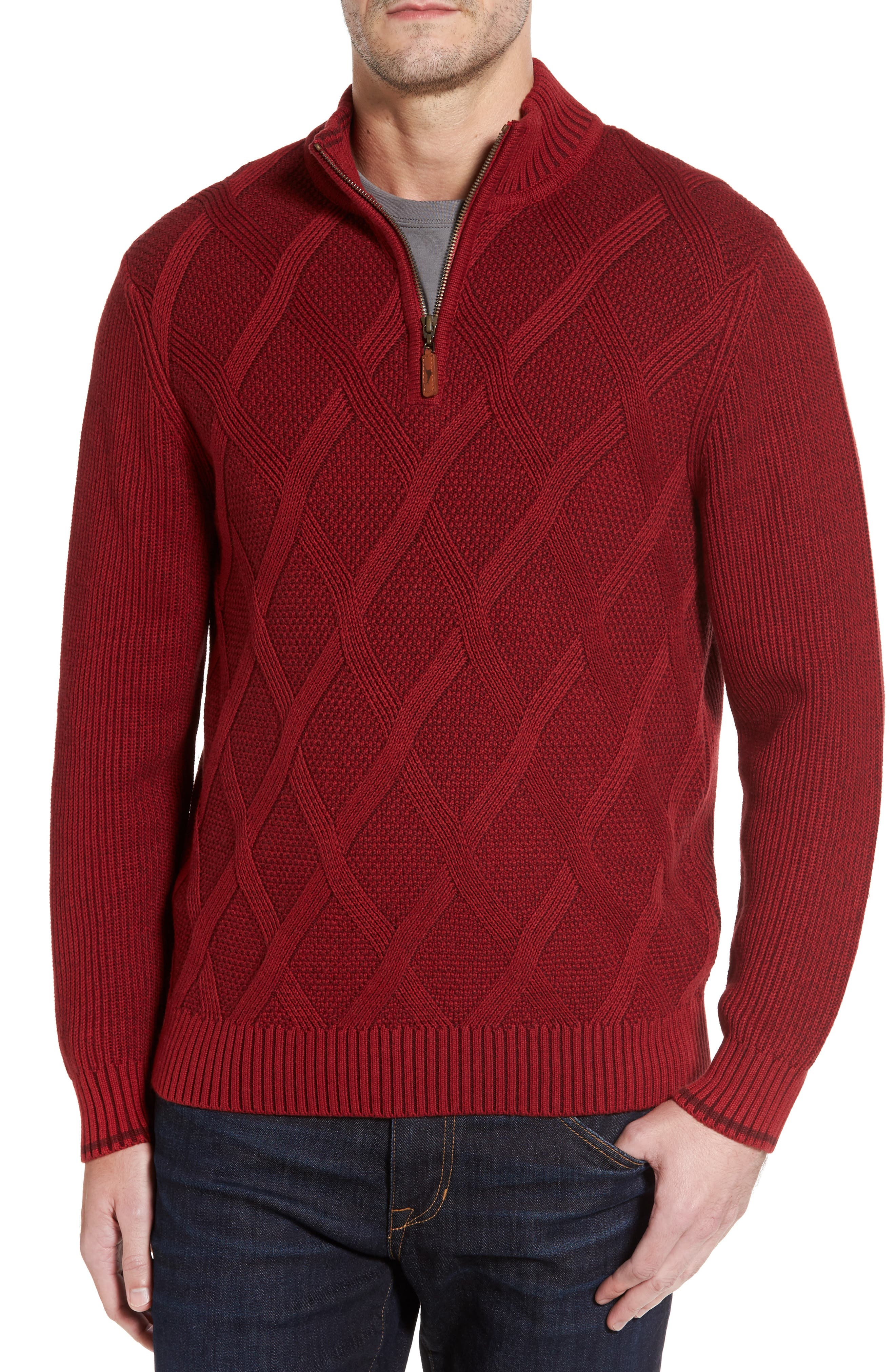 Tommy Bahama Desert Diamond Quarter Zip Sweater (Big & Tall)