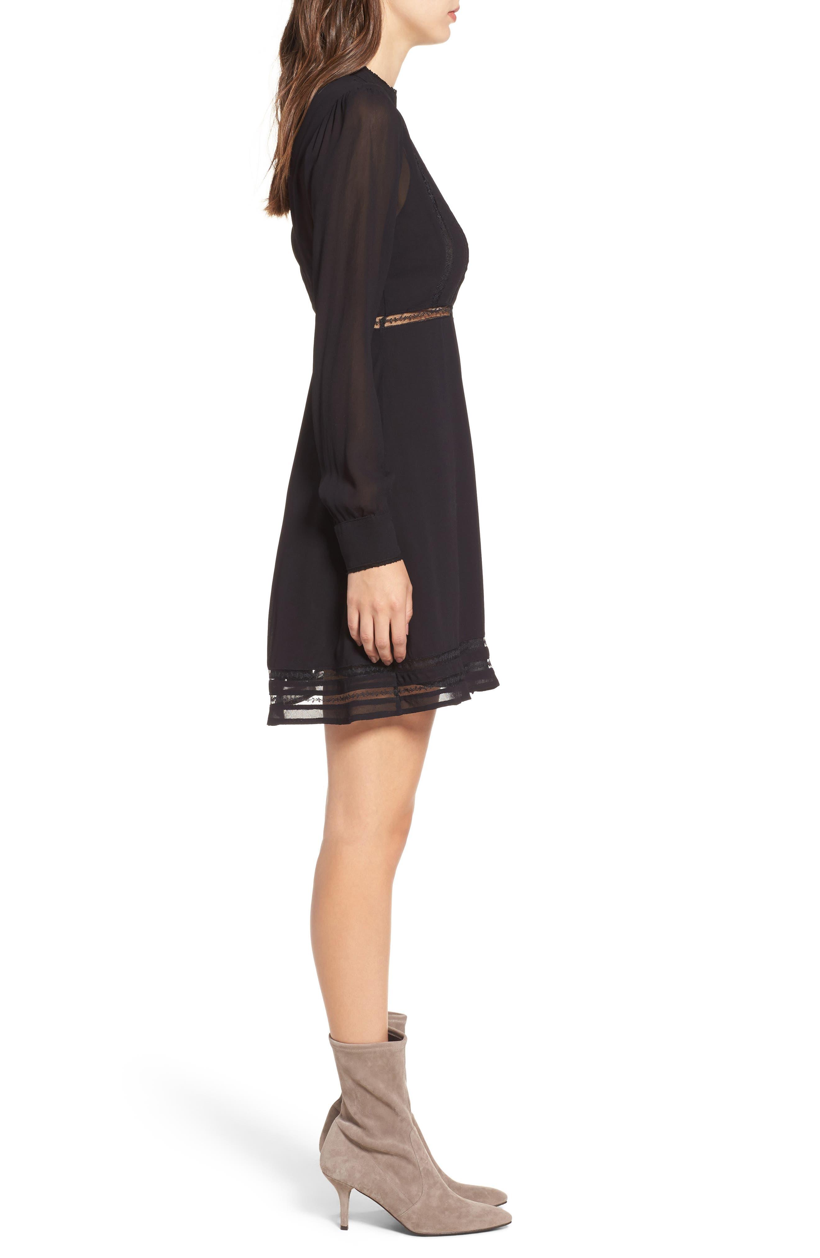 Kirsten A-Line Dress,                             Alternate thumbnail 3, color,                             Black