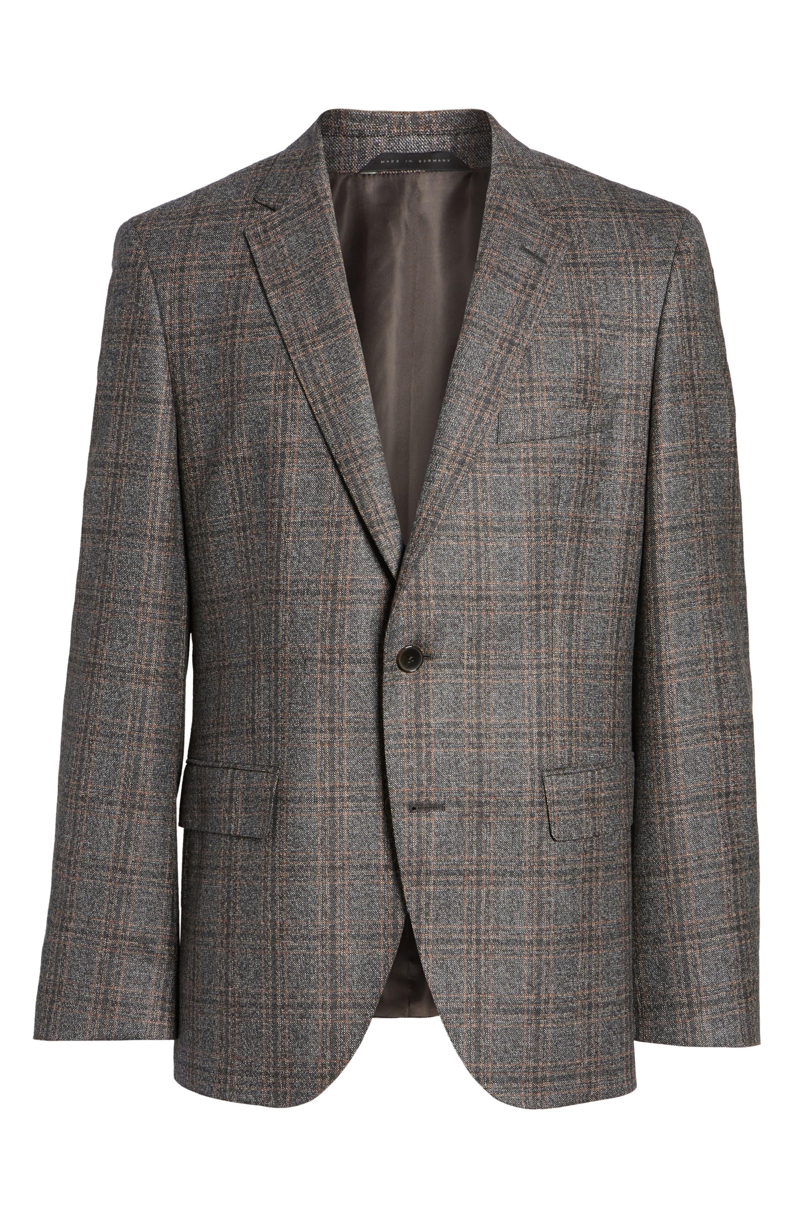 Jeen Trim Fit Plaid Wool Sport Coat,                             Alternate thumbnail 6, color,                             Dark Brown