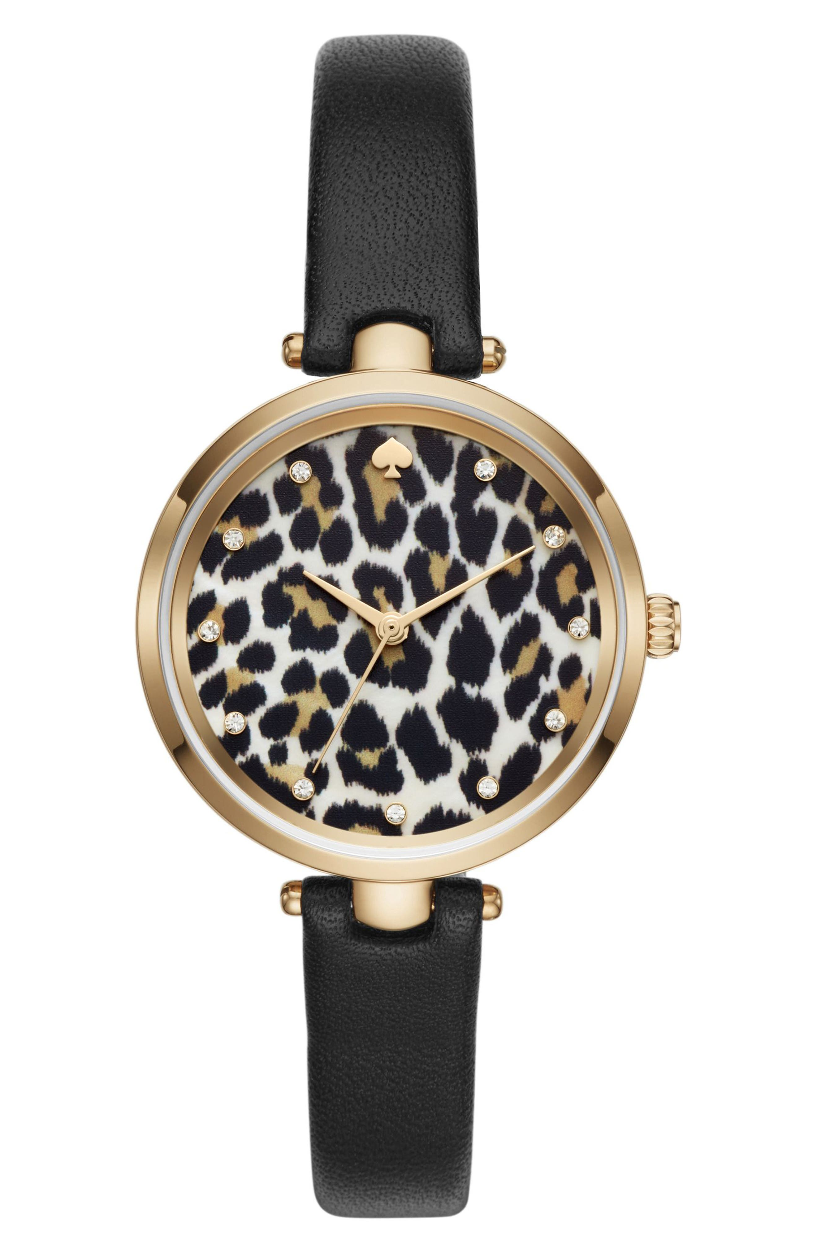 holland leopard leather strap watch, 34mm,                         Main,                         color, Black/ Animal Print/ Gold