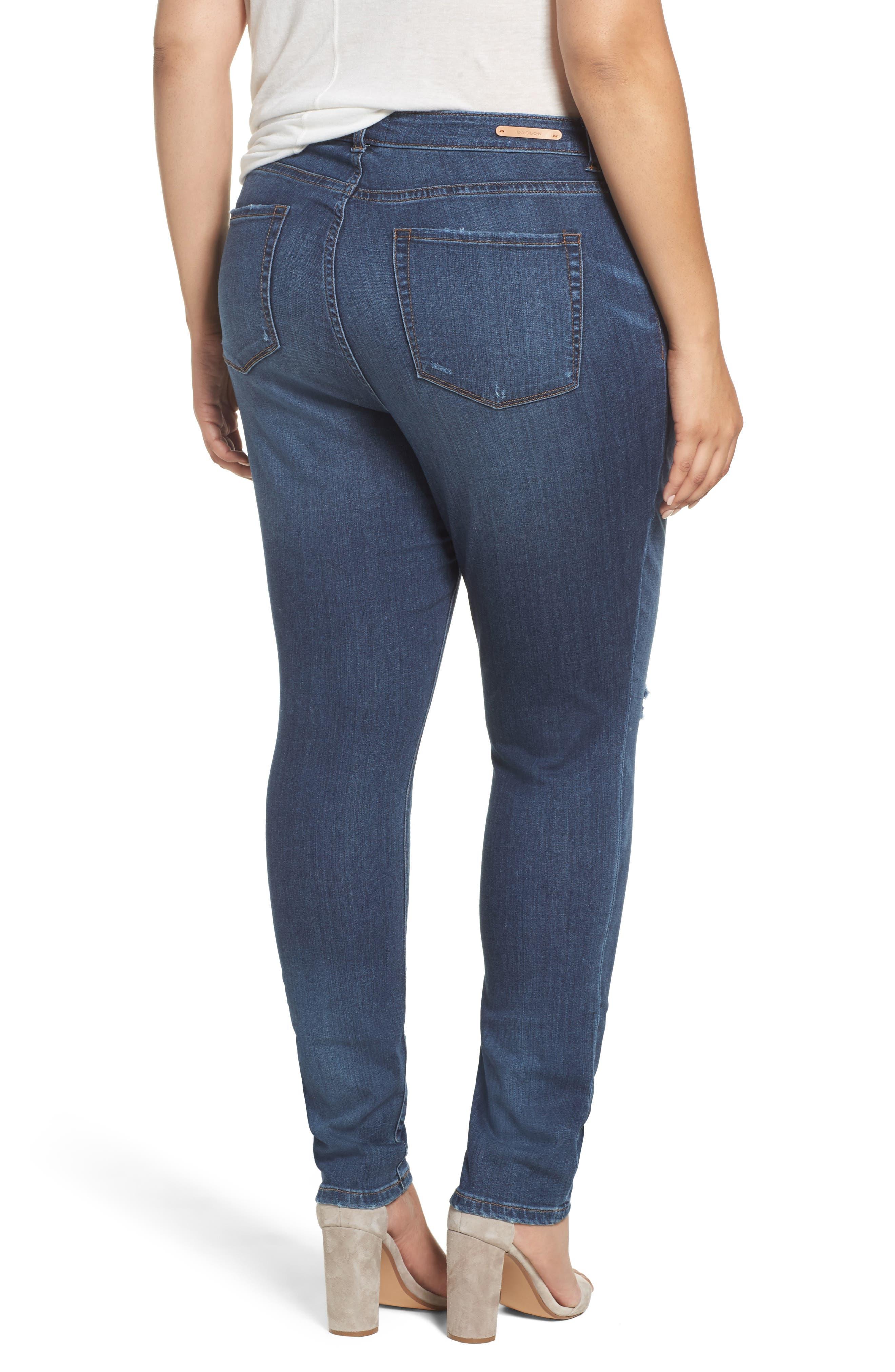 Rip Repair Skinny Jeans,                             Alternate thumbnail 3, color,                             Blue Octavia Wash