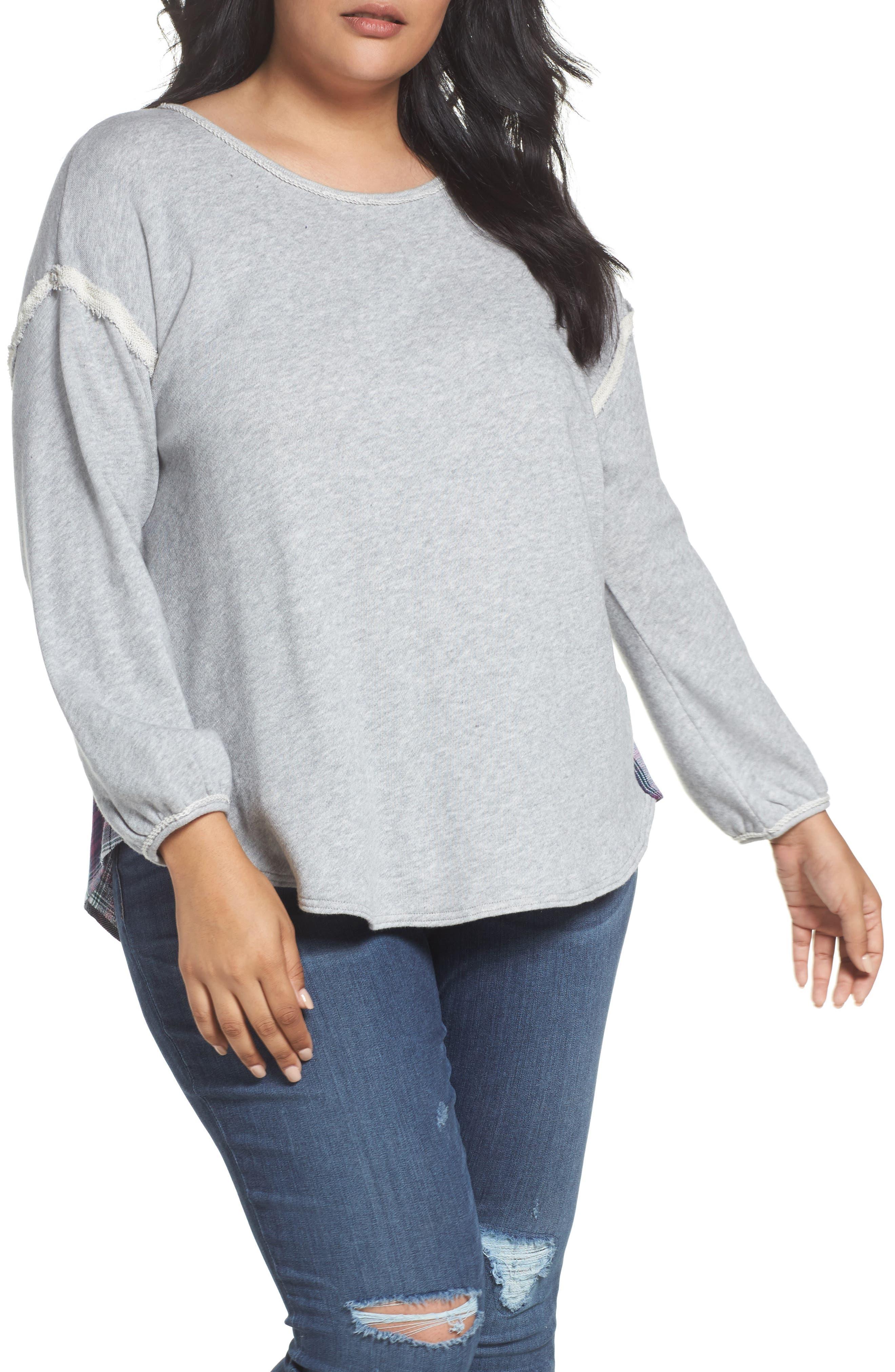 Caslon® Two Fer Plaid Contrast Sweatshirt (Plus Size)