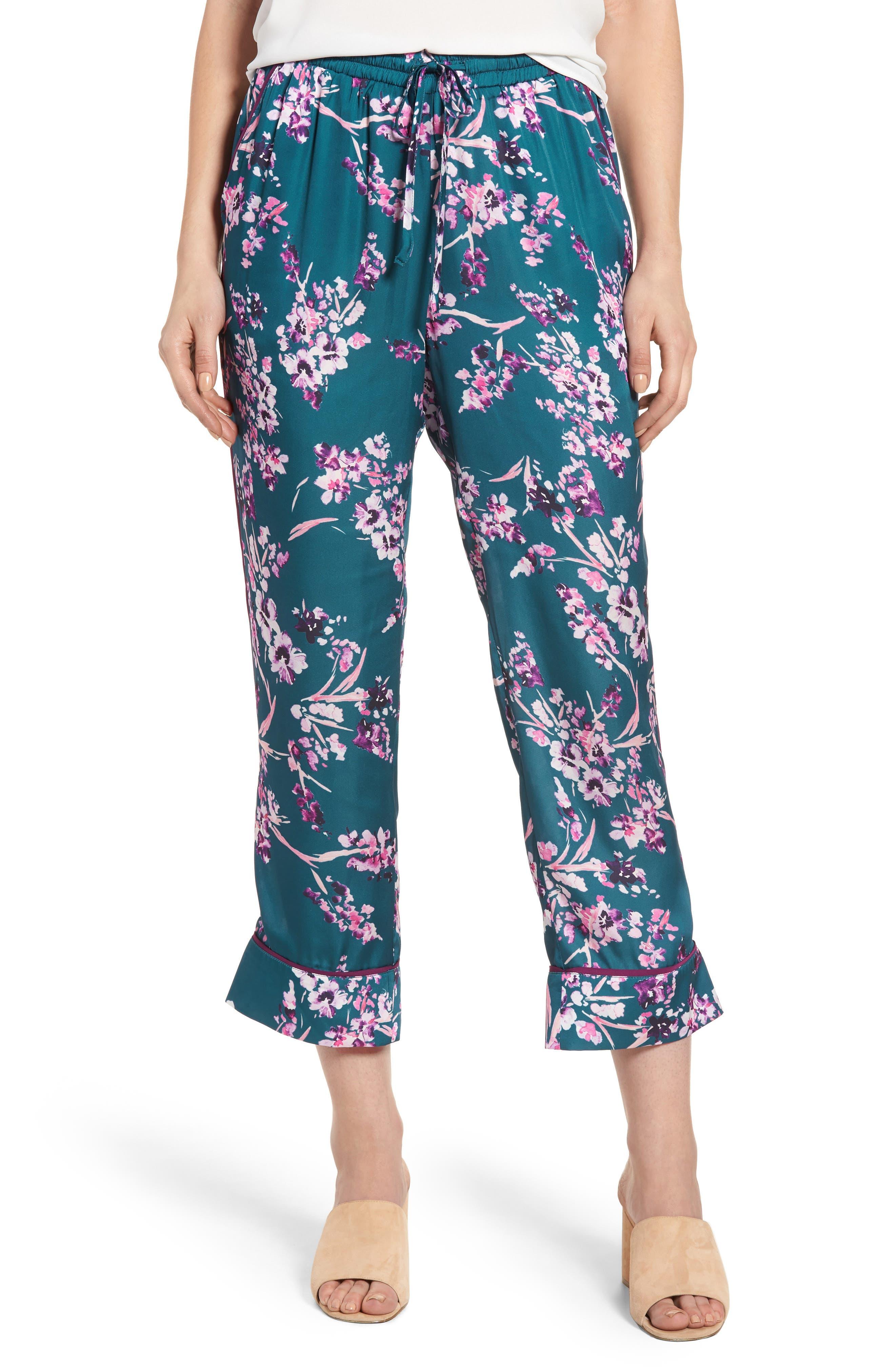 Katrina Print Pants,                             Main thumbnail 1, color,                             Moroccan Blossom